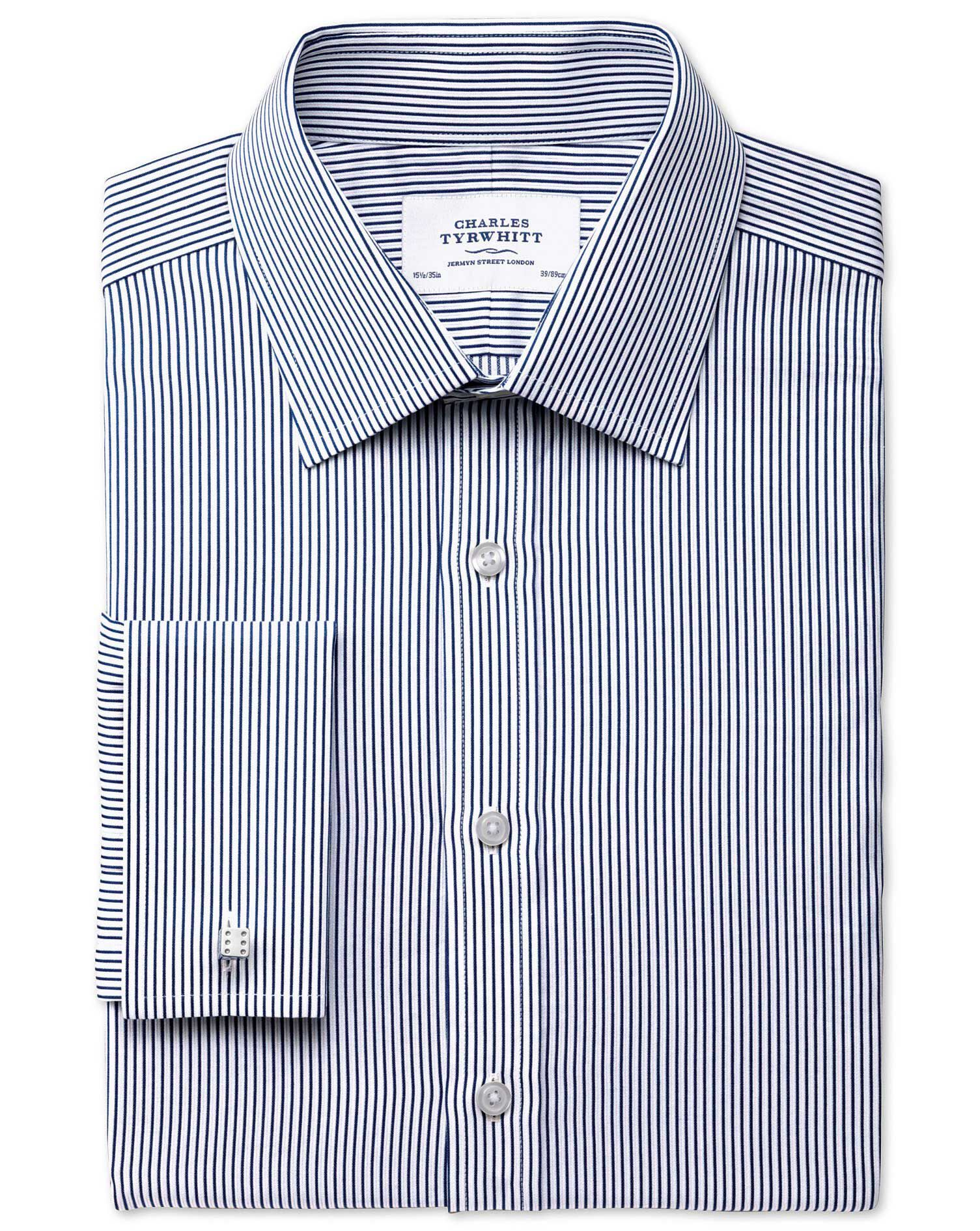 Slim Fit Raised Stripe Navy Cotton Formal Shirt Double Cuff Size 15.5/36 by Charles Tyrwhitt