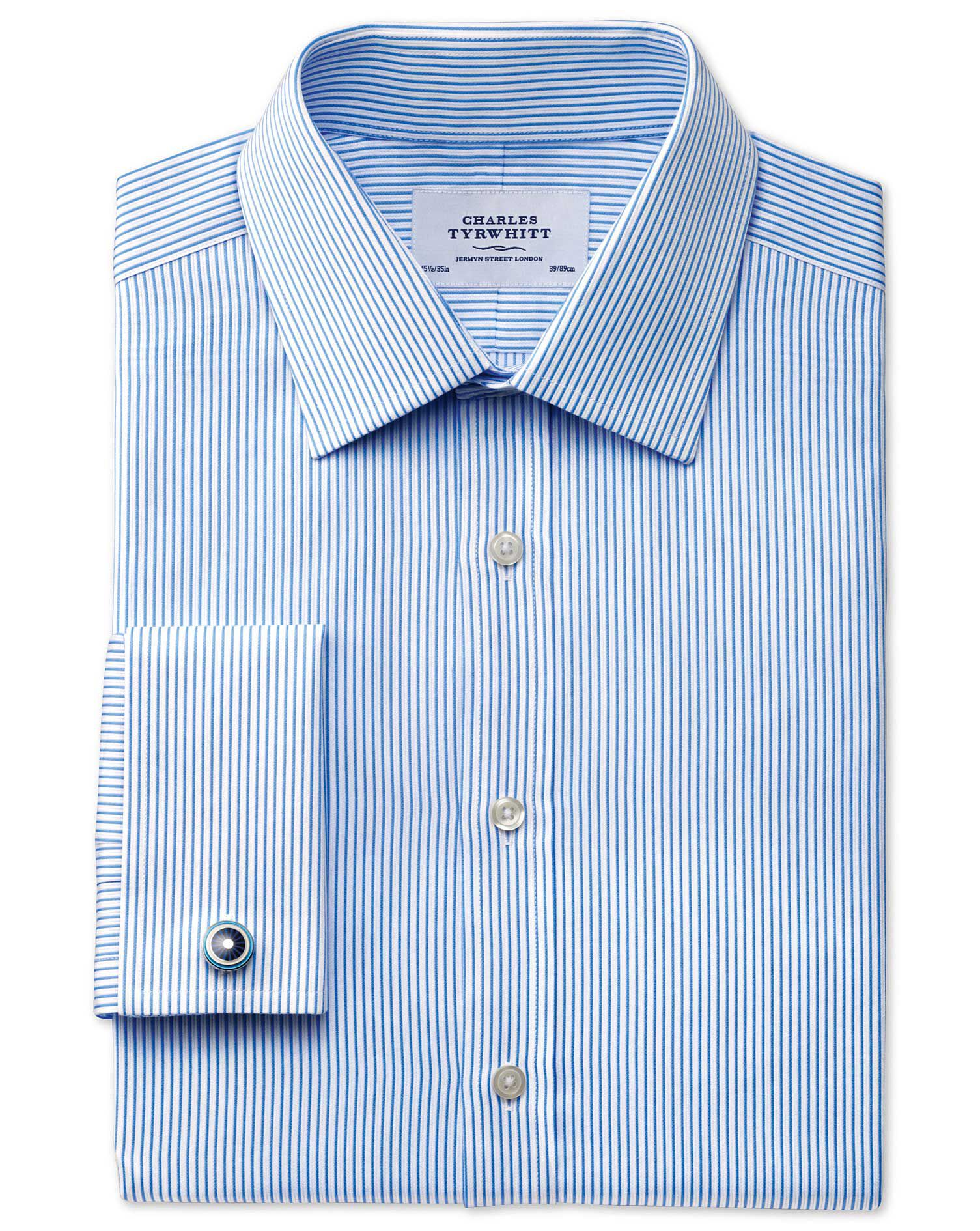 Slim Fit Raised Stripe Sky Blue Cotton Formal Shirt Single Cuff Size 15.5/33 by Charles Tyrwhitt