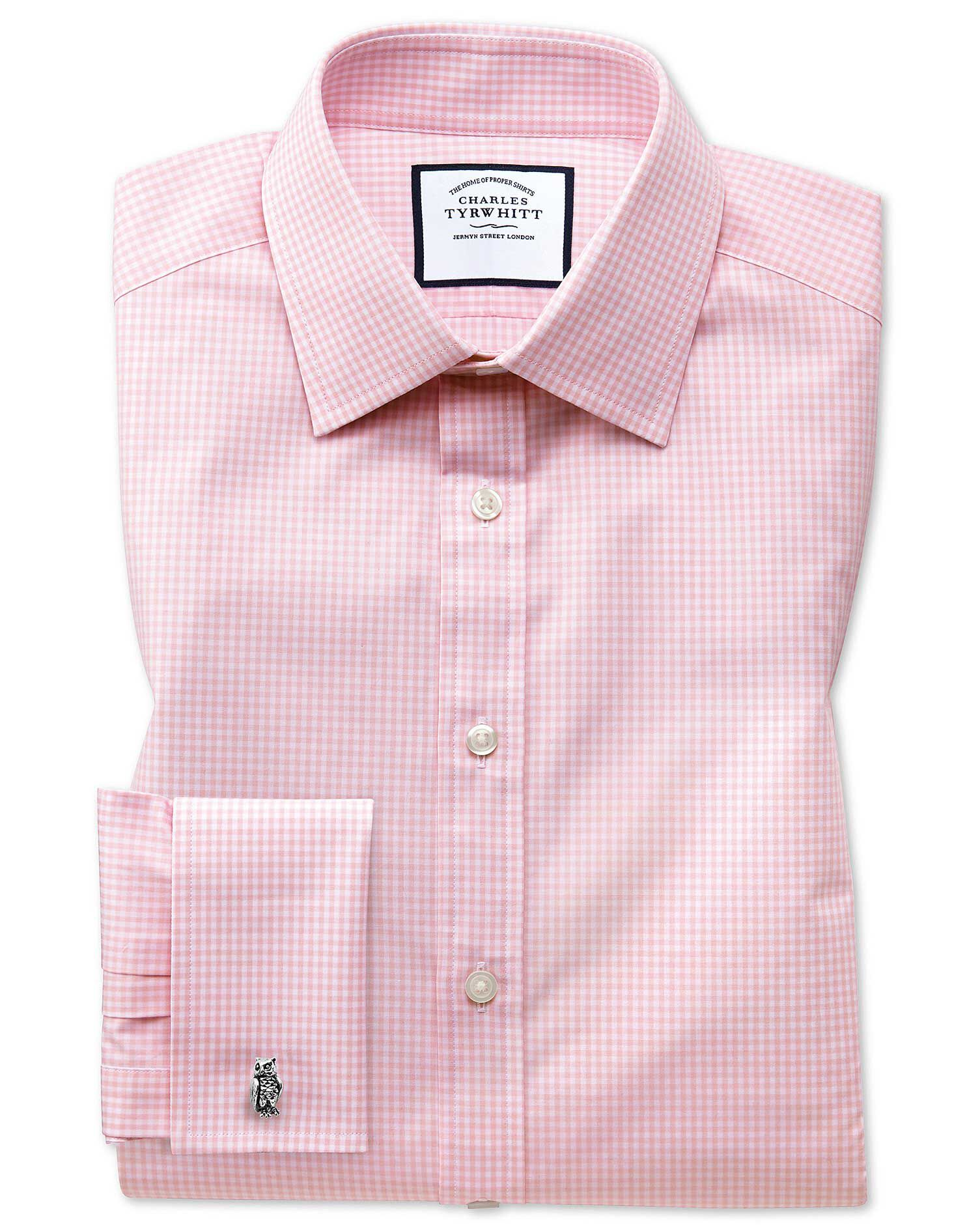 Slim Fit Small Gingham Light Pink Cotton Formal Shirt Double Cuff Size 16.5/33 by Charles Tyrwhitt
