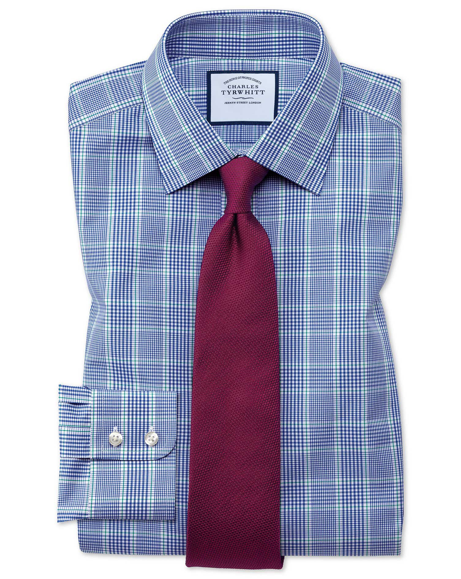 Charles Tyrwhitt Slim Fit Prince Of Wales Check Blue and Green Cotton Formal Shirt Size 17/35