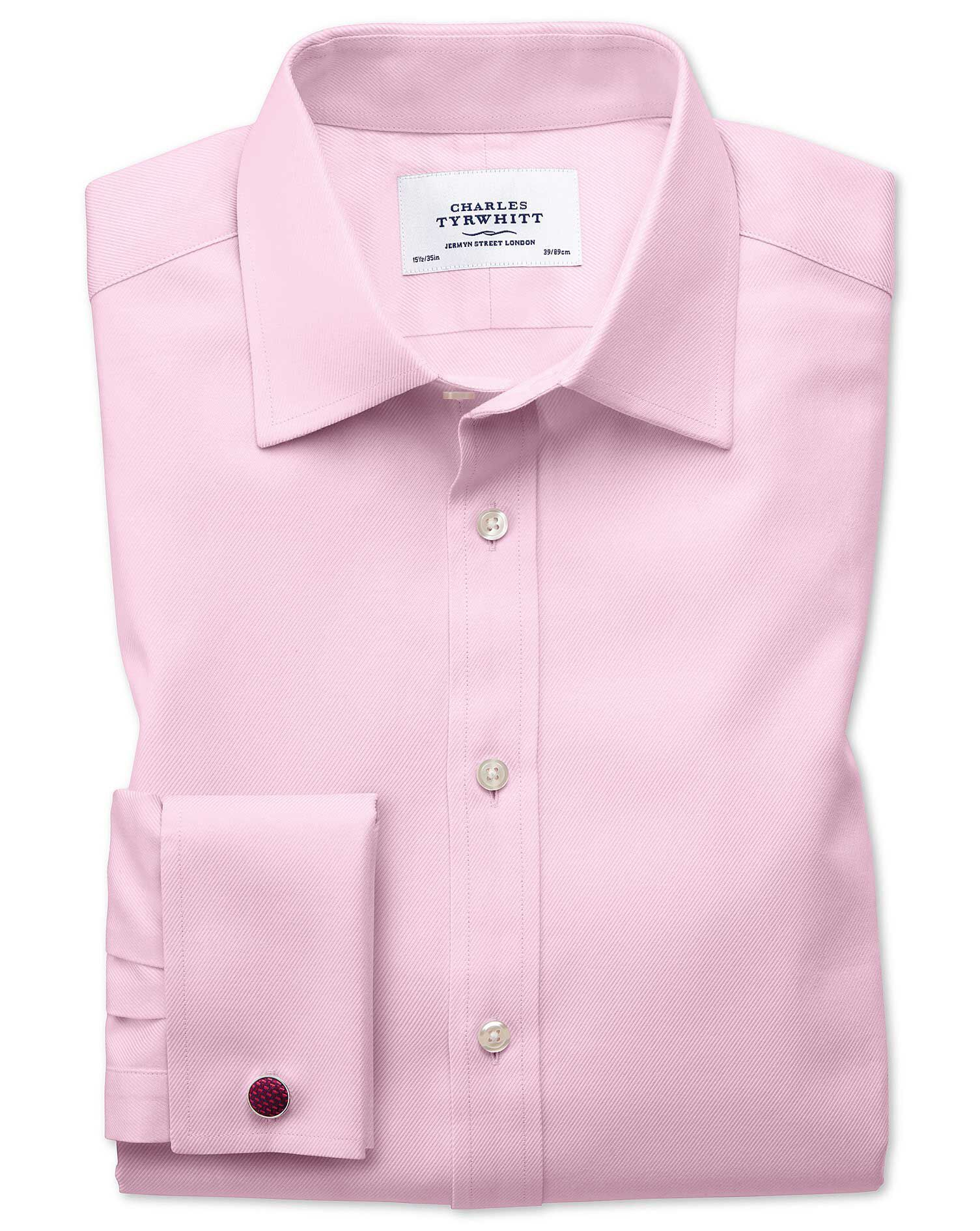 Slim Fit Egyptian Cotton Cavalry Twill Light Pink Formal Shirt Single Cuff Size 16/34 by Charles Tyr