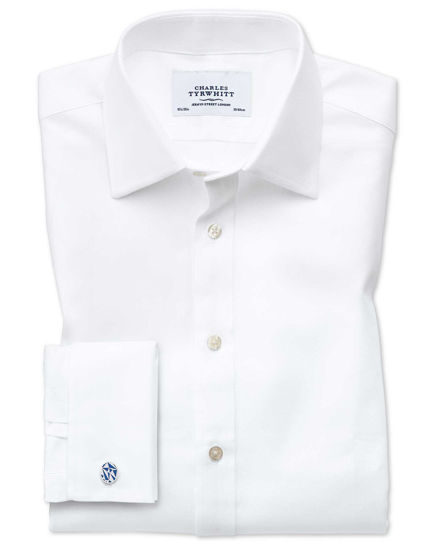 Slim Fit Egyptian Cotton Cavalry Twill White Formal Shirt Single Cuff Size 15/32 by Charles Tyrwhitt