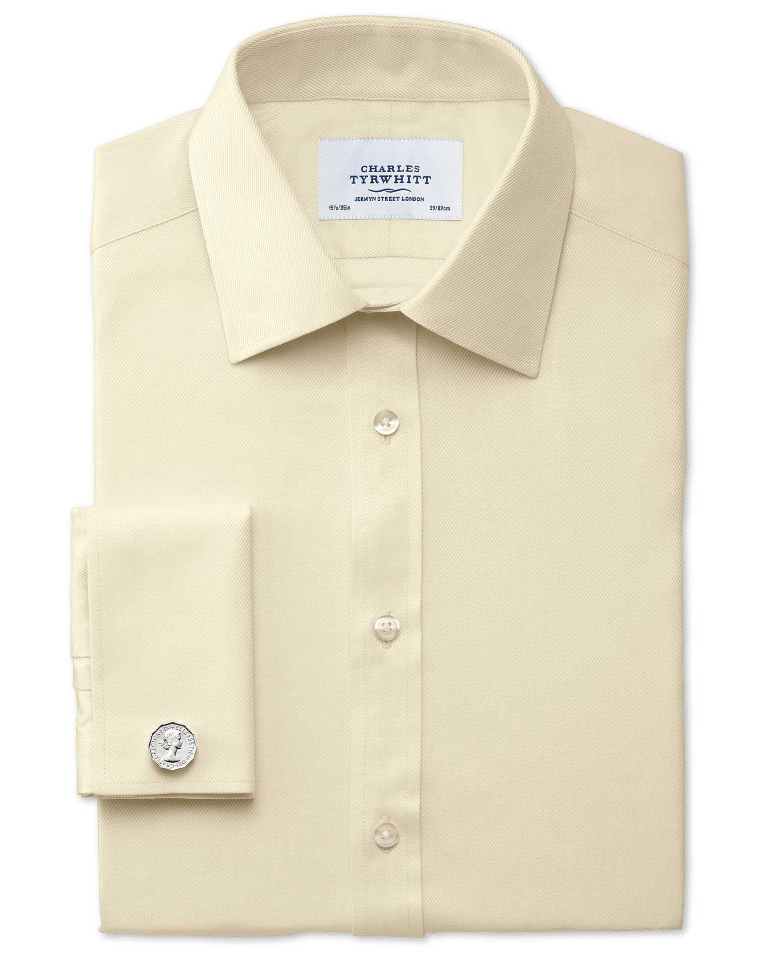Slim Fit Egyptian Cotton Cavalry Twill Yellow Formal Shirt Single Cuff Size 15.5/37 by Charles Tyrwh
