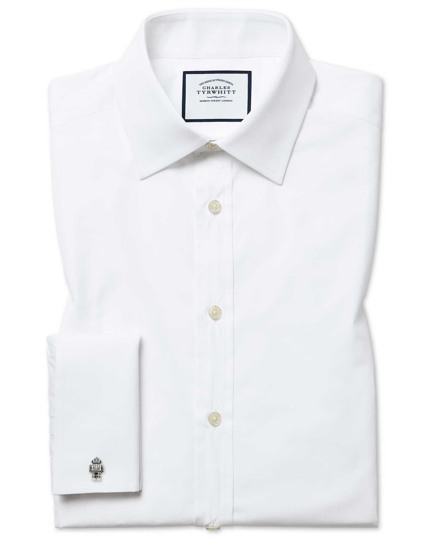 Slim Fit Egyptian Cotton Poplin White Formal Shirt Double Cuff Size 15.5/34 by Charles Tyrwhitt