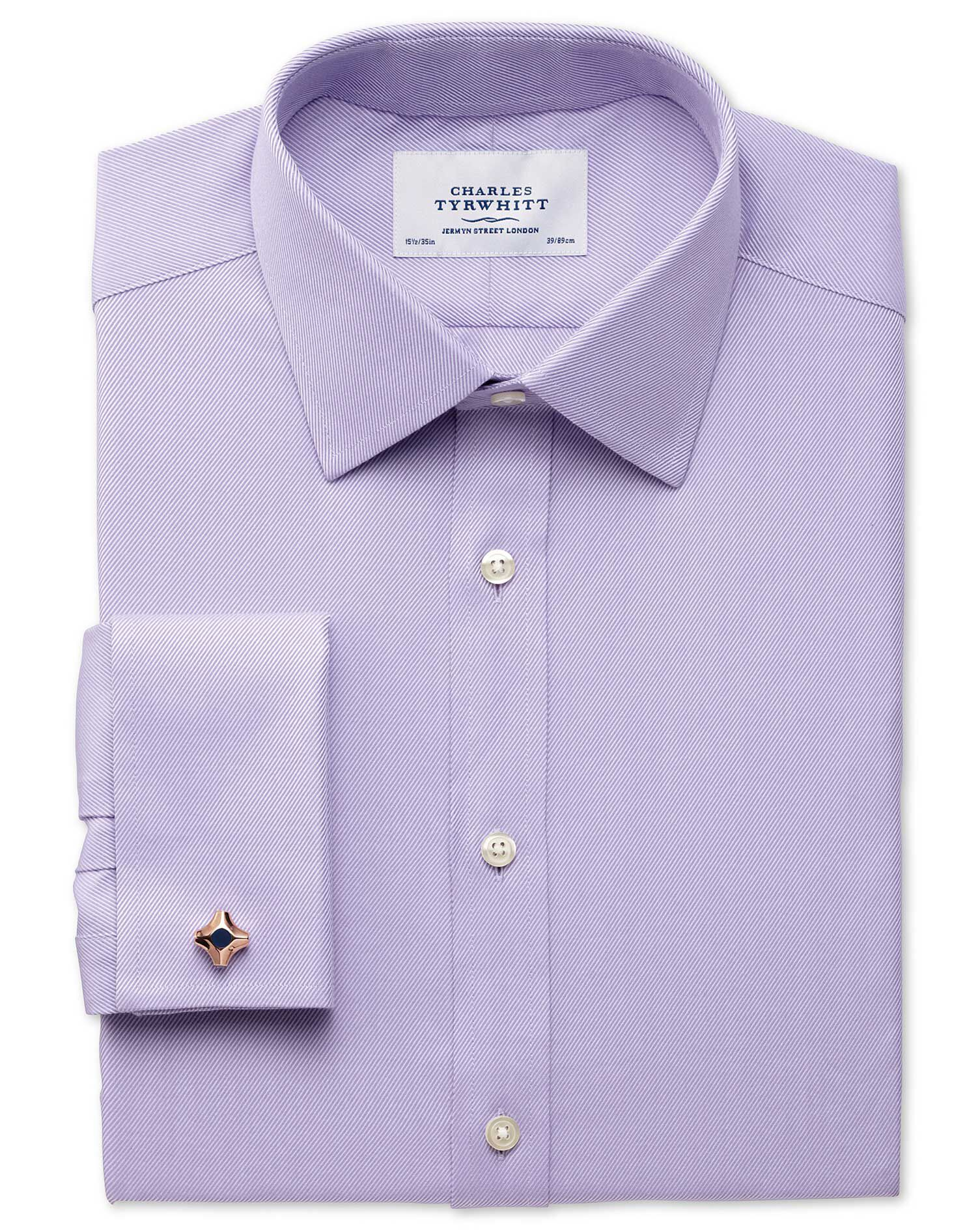 Extra Slim Fit Egyptian Cotton Cavalry Twill Lilac Formal Shirt Single Cuff Size 16/38 by Charles Ty