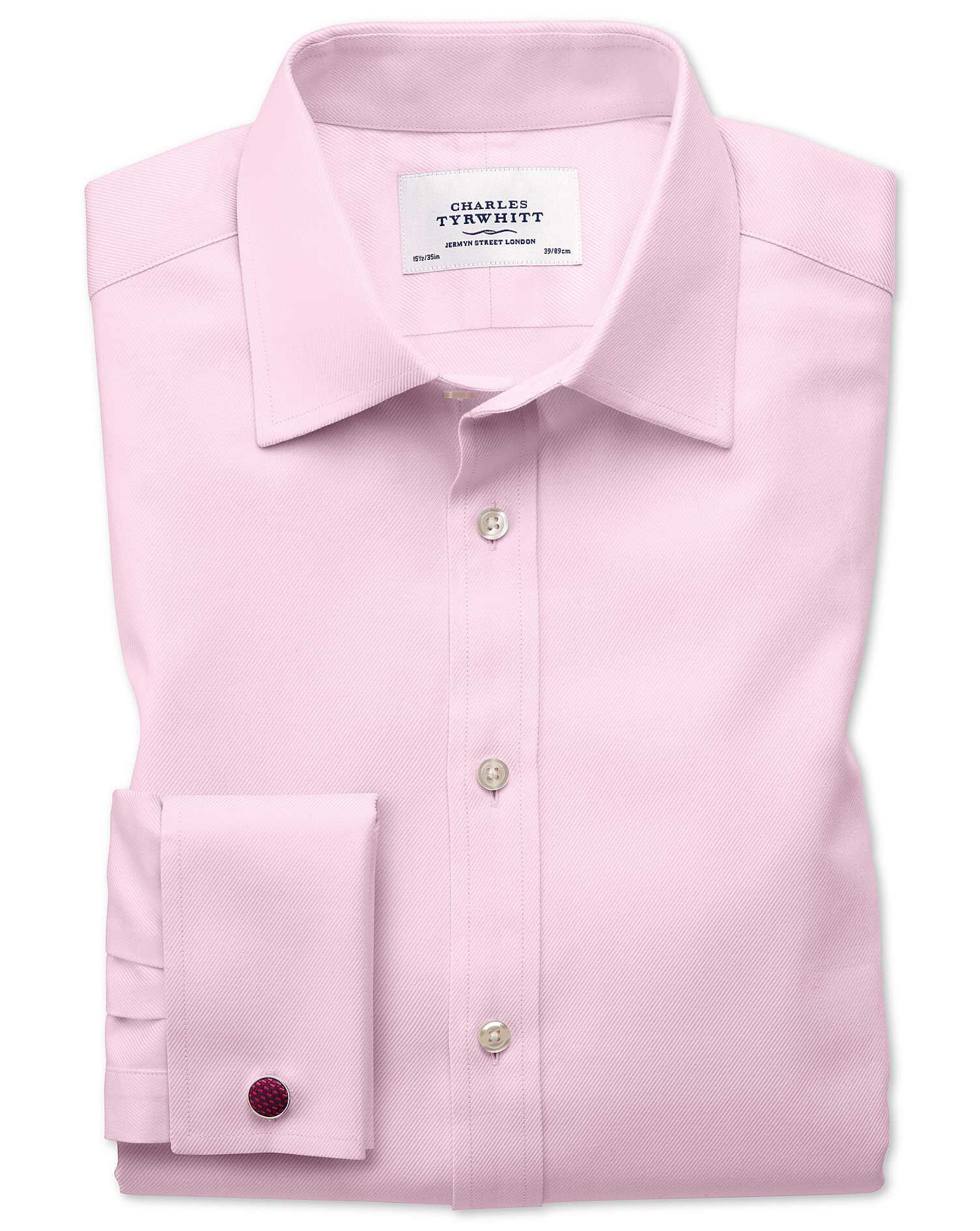 Extra Slim Fit Egyptian Cotton Cavalry Twill Light Pink Formal Shirt Double Cuff Size 15/35 by Charl