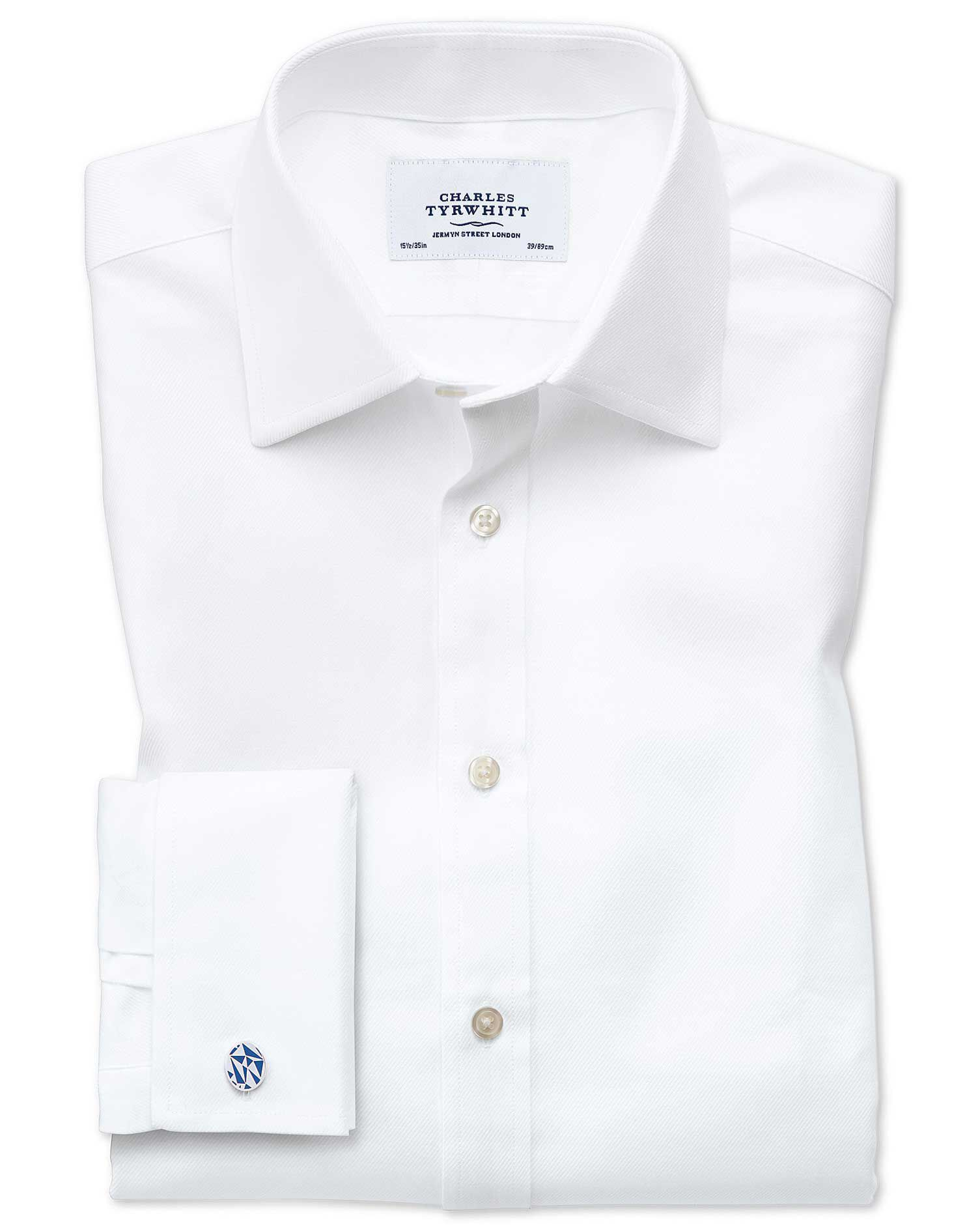 Extra Slim Fit Egyptian Cotton Cavalry Twill White Formal Shirt Single Cuff Size 15.5/32 by Charles