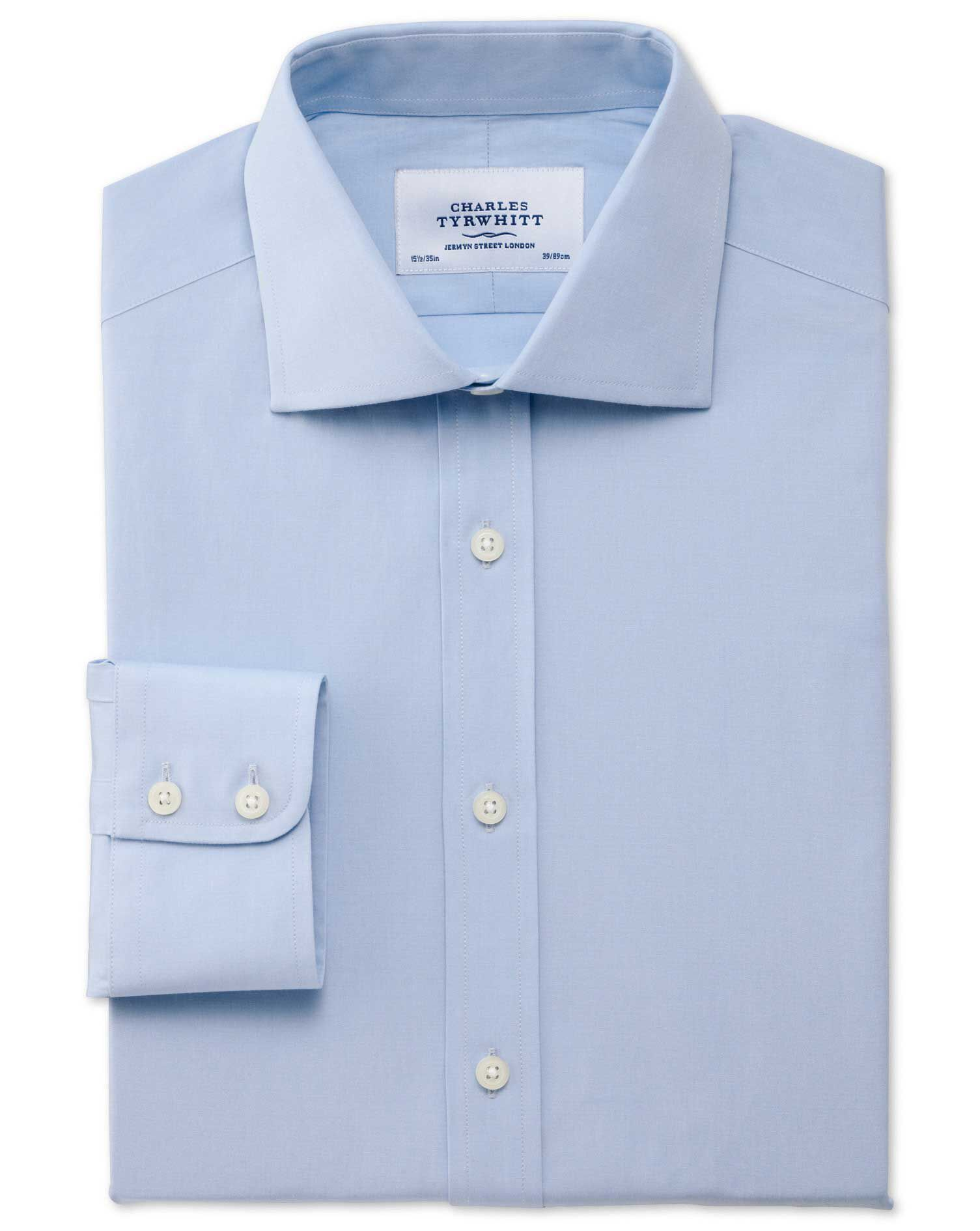 Extra Slim Fit Semi-Cutaway Collar Stretch Sky Blue Cotton Formal Shirt Single Cuff Size 16.5/33 by