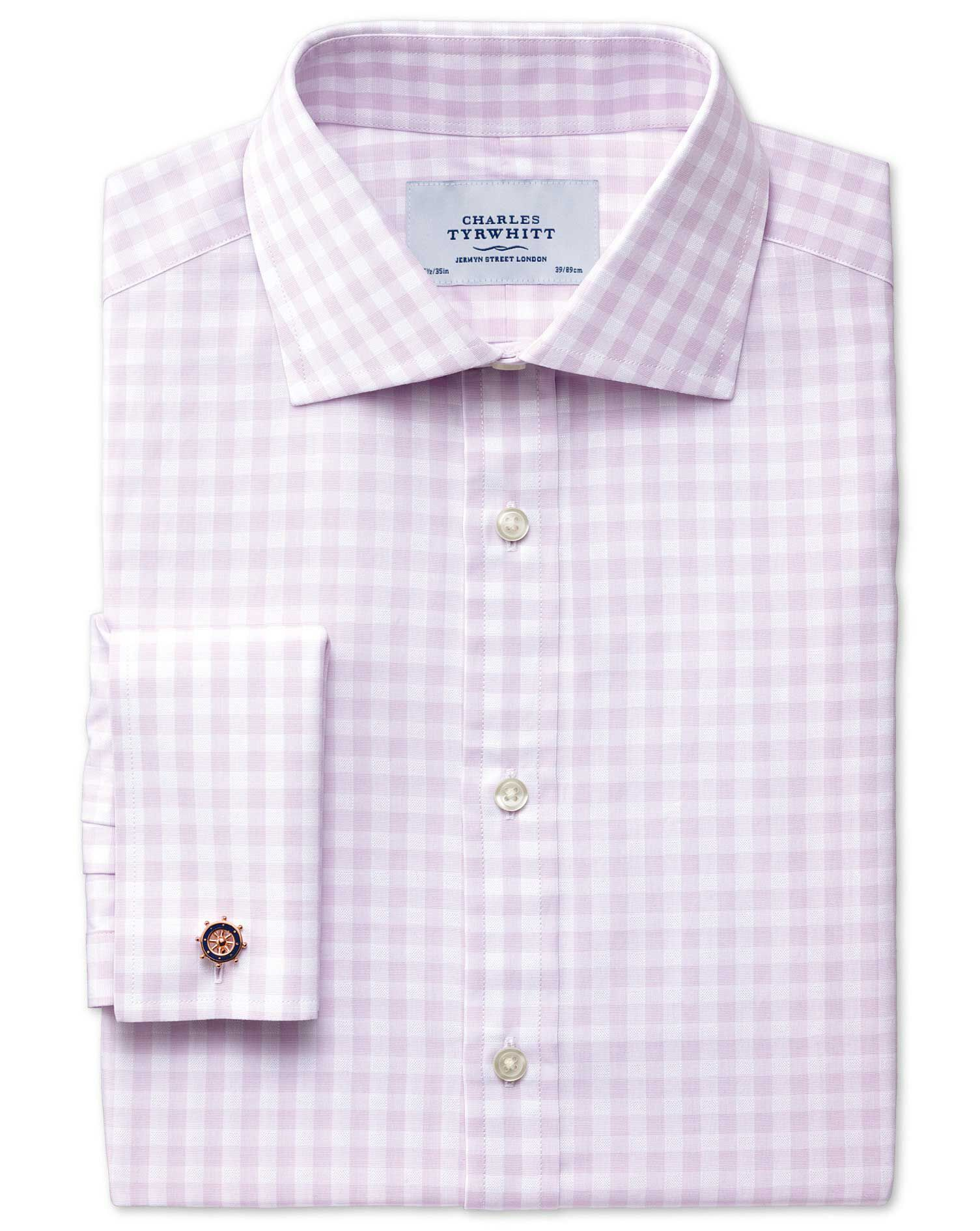 Classic Fit Semi-Cutaway Collar Textured Gingham Lilac Cotton Formal Shirt Double Cuff Size 15.5/36