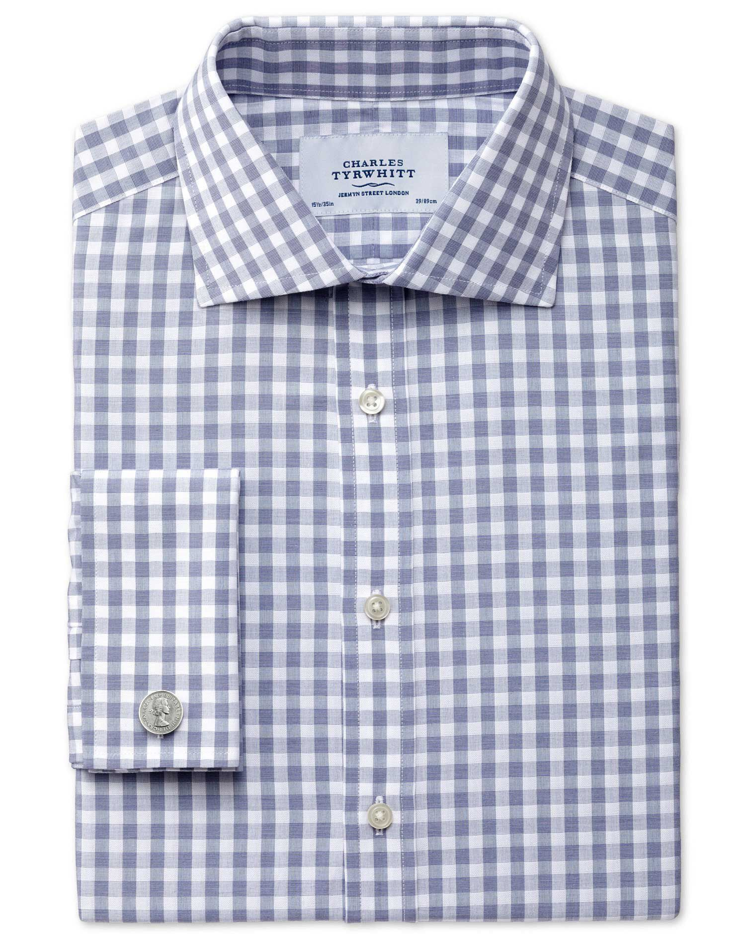 Classic Fit Semi-Cutaway Collar Textured Gingham Navy Cotton Formal Shirt Double Cuff Size 15/33 by