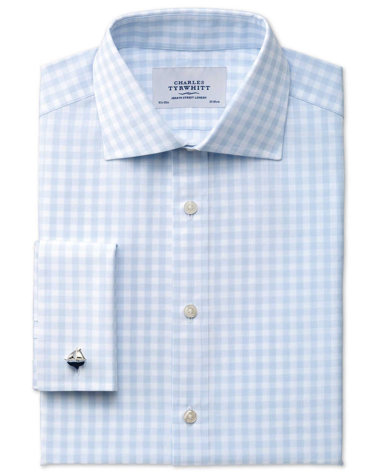 Classic Fit Semi-Cutaway Collar Textured Gingham Sky Blue Cotton Formal Shirt Double Cuff Size 15.5/
