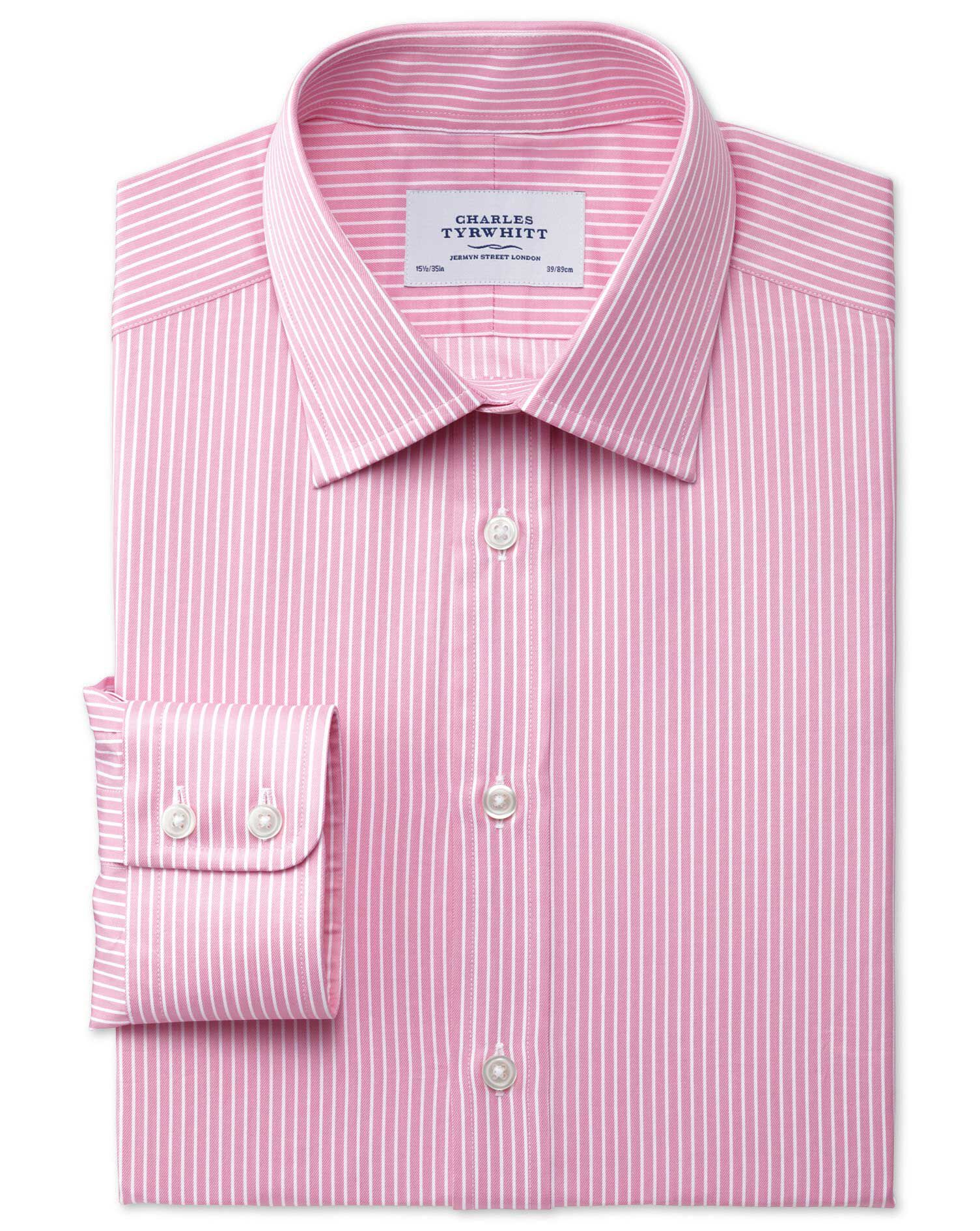 Classic Fit Egyptian Cotton Stripe Pink Formal Shirt Single Cuff Size 15/34 by Charles Tyrwhitt