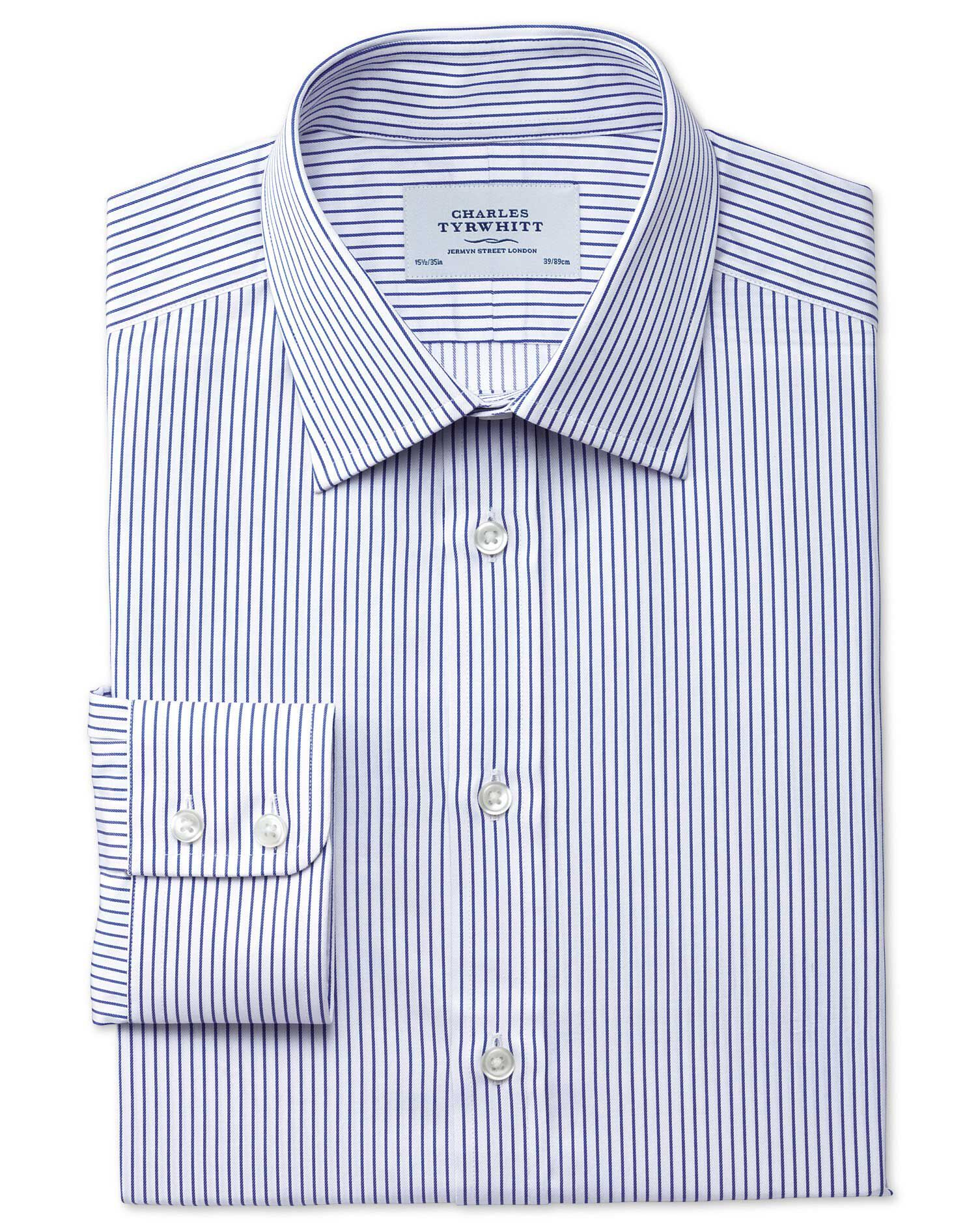 Slim Fit Egyptian Cotton Stripe White and Navy Formal Shirt Single Cuff Size 17.5/34 by Charles Tyrw