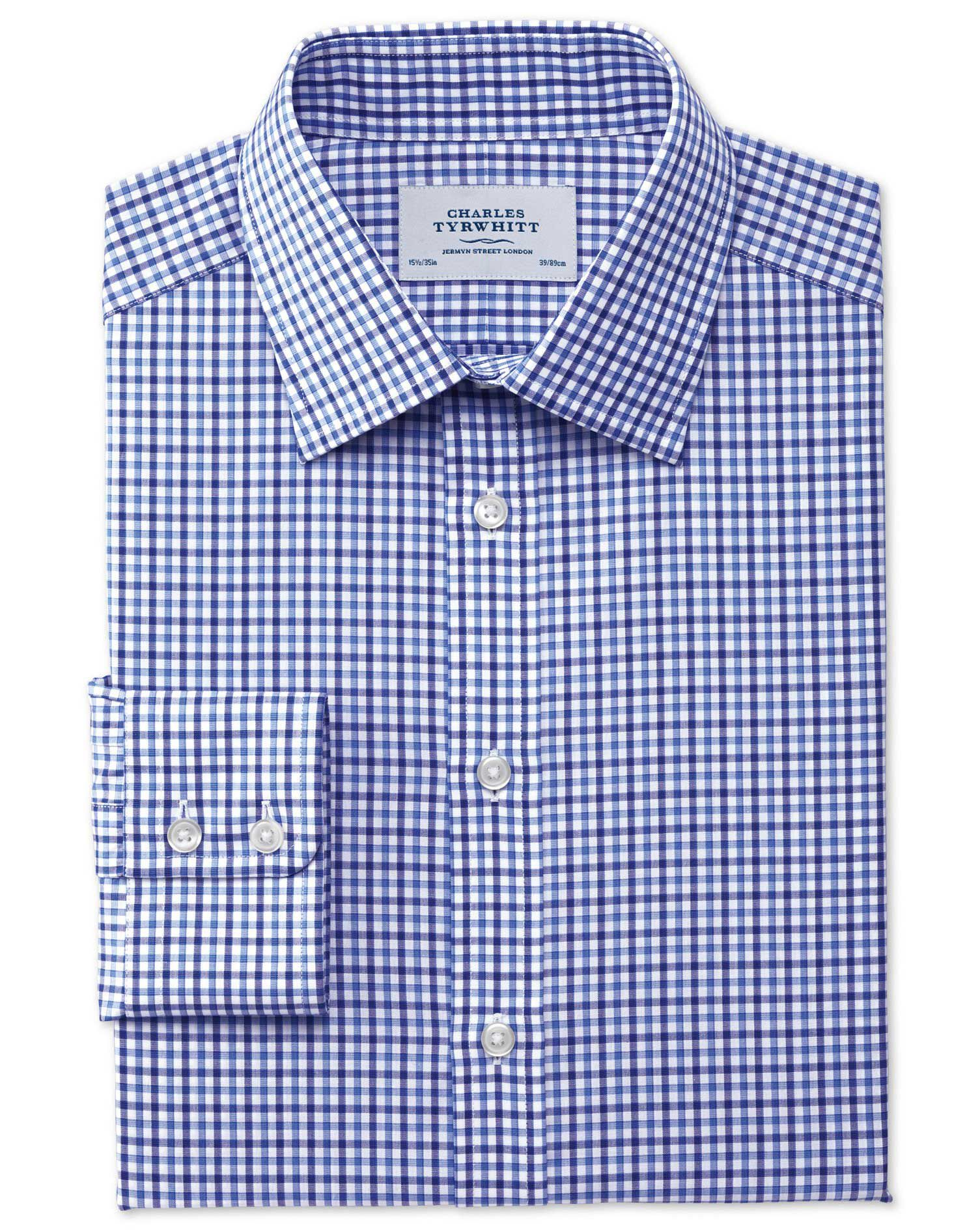 Classic Fit Egyptian Cotton Jermyn St Check Blue Formal Shirt Single Cuff Size 19/38 by Charles Tyrw