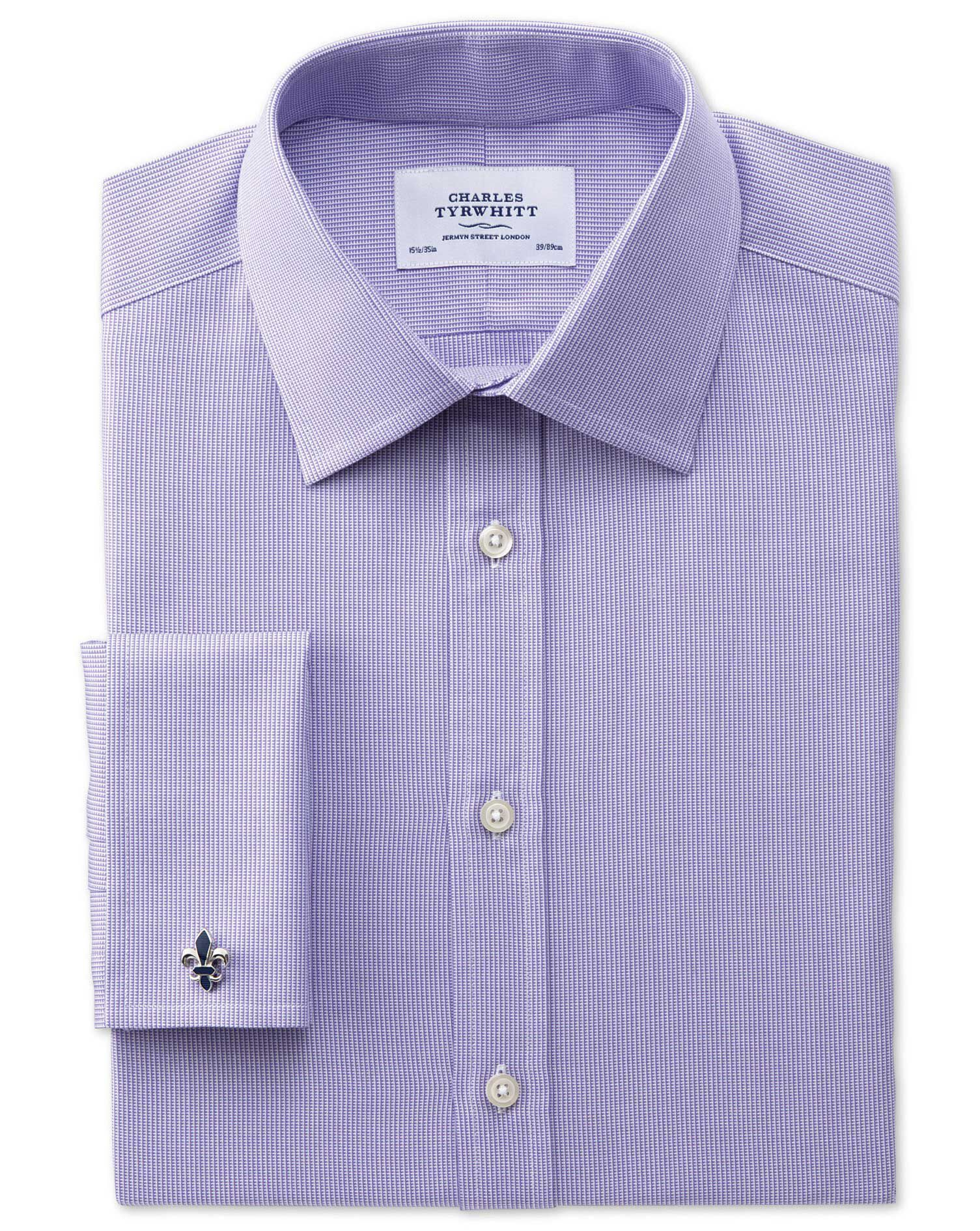Classic Fit Oxford Lilac Cotton Formal Shirt Double Cuff Size 15.5/36 by Charles Tyrwhitt