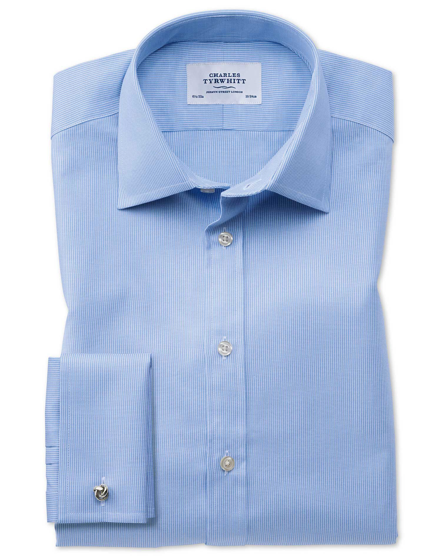 Classic Fit Oxford Sky Blue Cotton Formal Shirt Single Cuff Size 15.5/37 by Charles Tyrwhitt