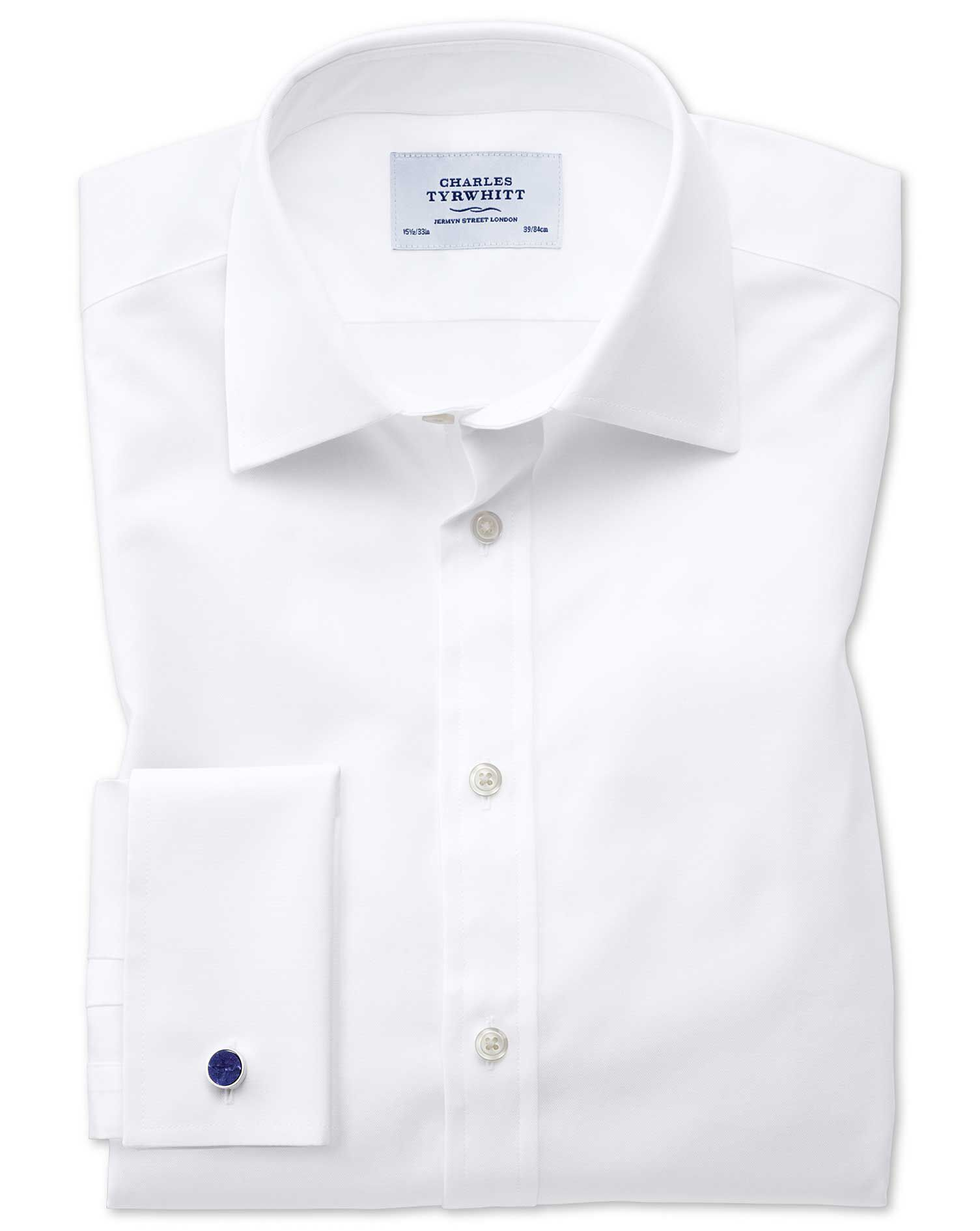 Slim Fit Oxford White Cotton Formal Shirt Single Cuff Size 18/35 by Charles Tyrwhitt