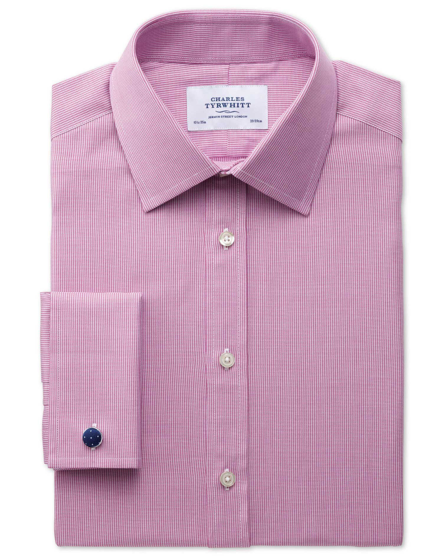 Extra Slim Fit Oxford Magenta Cotton Formal Shirt Double Cuff Size 17.5/34 by Charles Tyrwhitt