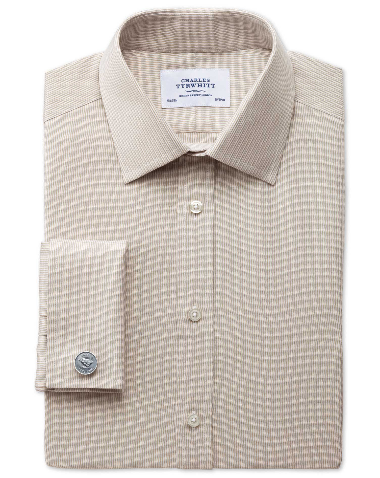 Extra Slim Fit Oxford Stone Cotton Formal Shirt Single Cuff Size 15.5/36 by Charles Tyrwhitt