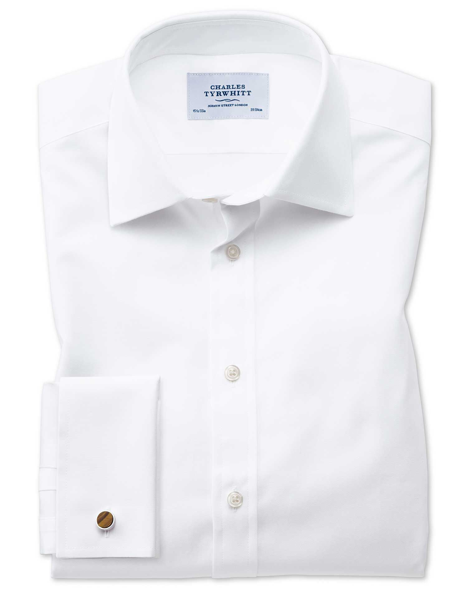 Extra Slim Fit Oxford White Cotton Formal Shirt Double Cuff Size 17/33 by Charles Tyrwhitt