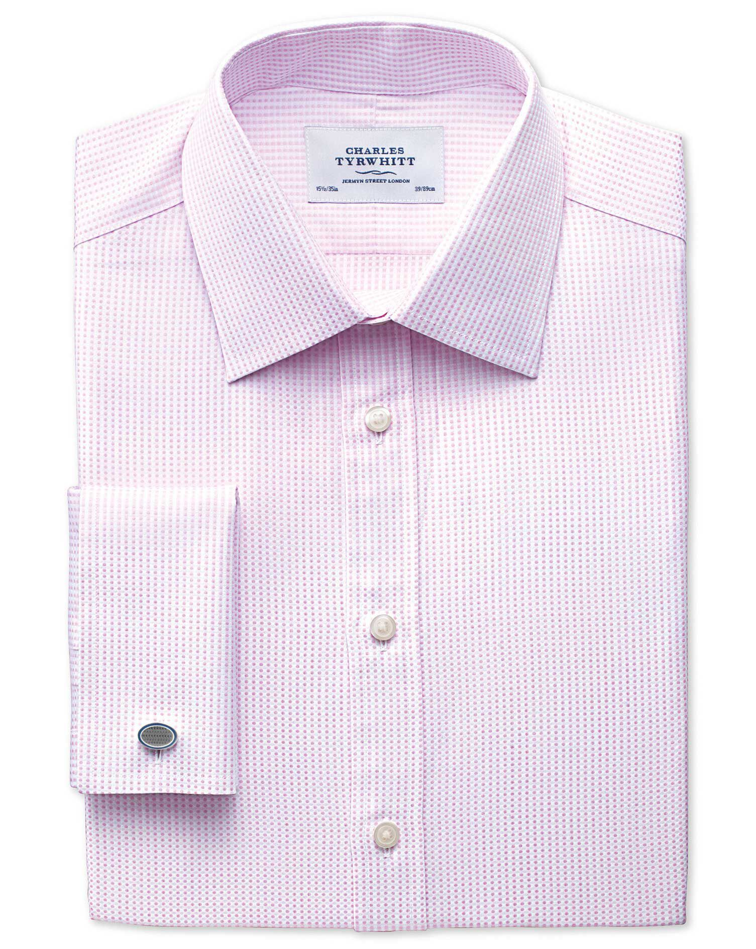 Slim Fit Pima Cotton Double-Faced Light Pink Formal Shirt Double Cuff Size 17/38 by Charles Tyrwhitt