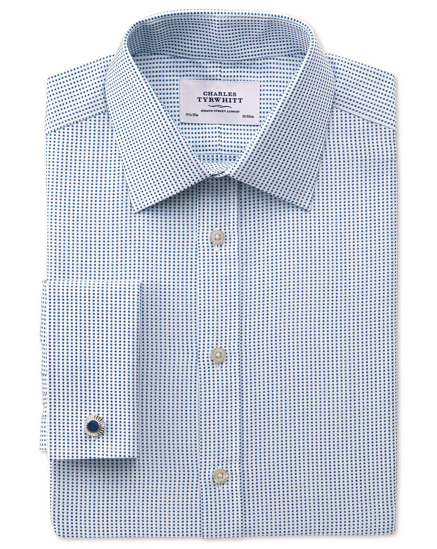 Slim Fit Pima Cotton Double-Faced Navy Formal Shirt Double Cuff Size 17/38 by Charles Tyrwhitt