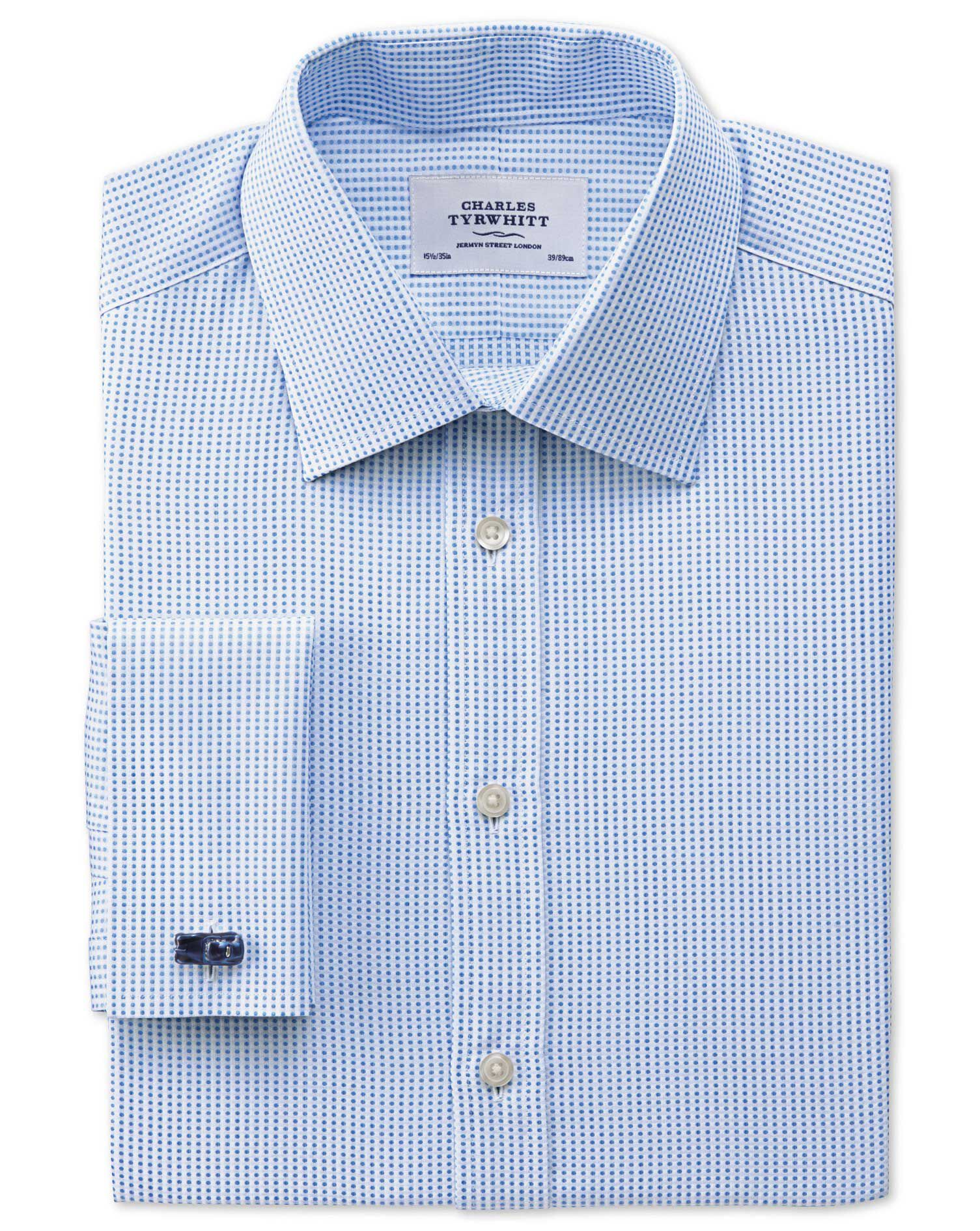 Slim Fit Pima Cotton Double-Faced Sky Blue Formal Shirt Double Cuff Size 15.5/37 by Charles Tyrwhitt