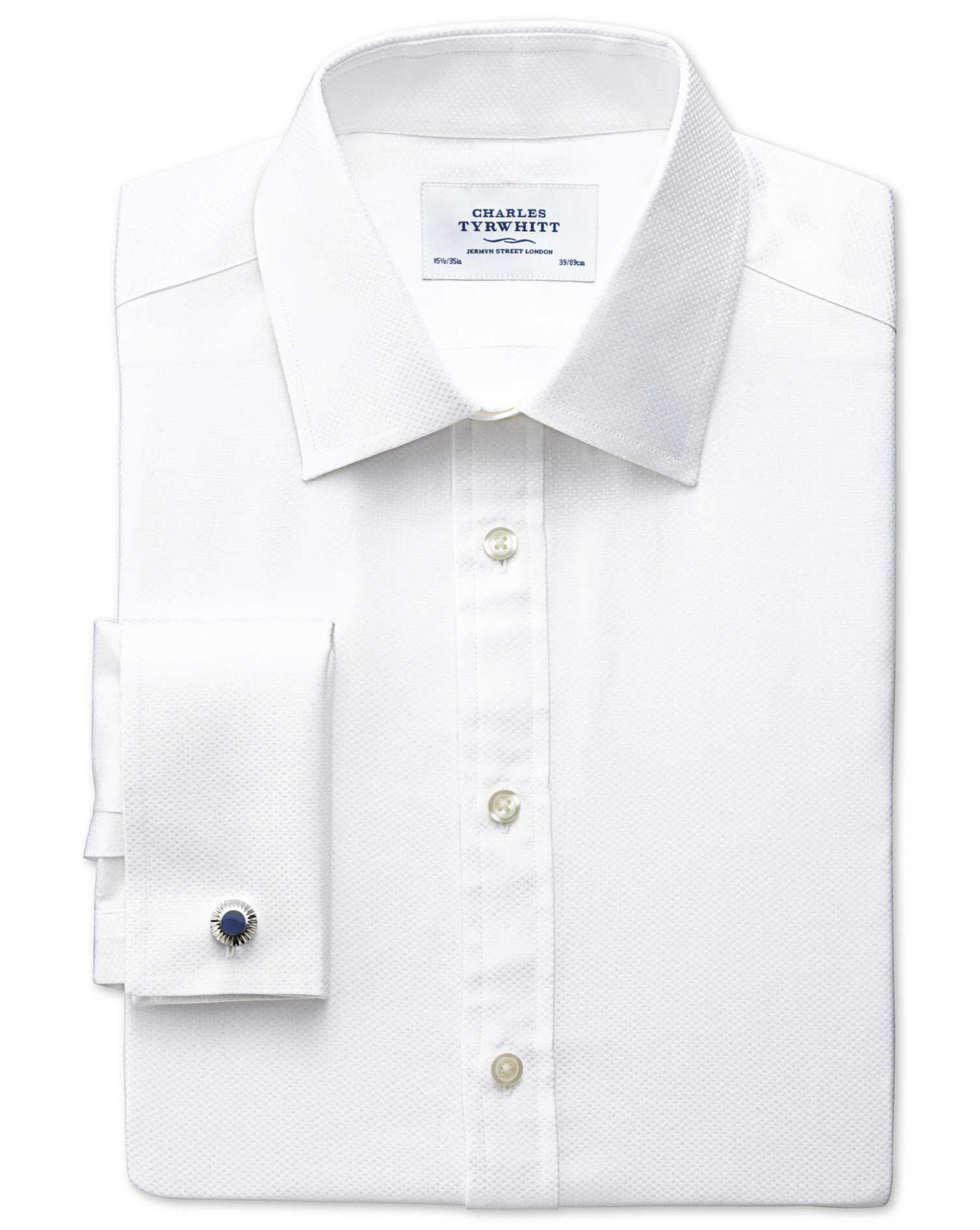 Extra Slim Fit Pima Cotton Double-Faced White Formal Shirt Double Cuff Size 15/35 by Charles Tyrwhit