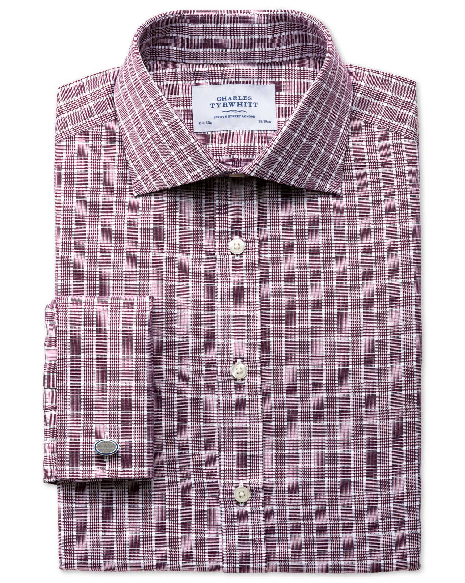Classic Fit Prince Of Wales Berry Cotton Formal Shirt Double Cuff Size 15/35 by Charles Tyrwhitt