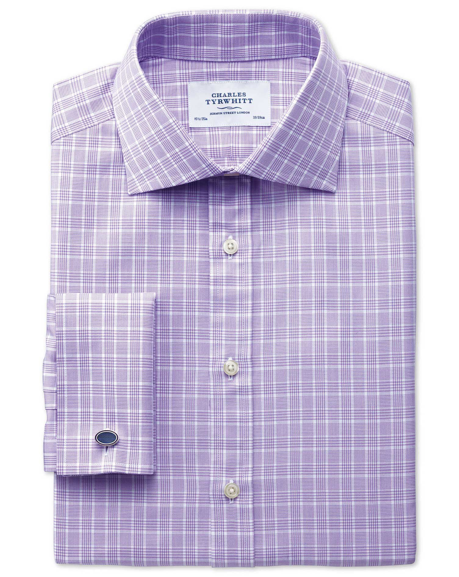 Classic Fit Prince Of Wales Lilac Cotton Formal Shirt Double Cuff Size 15/33 by Charles Tyrwhitt