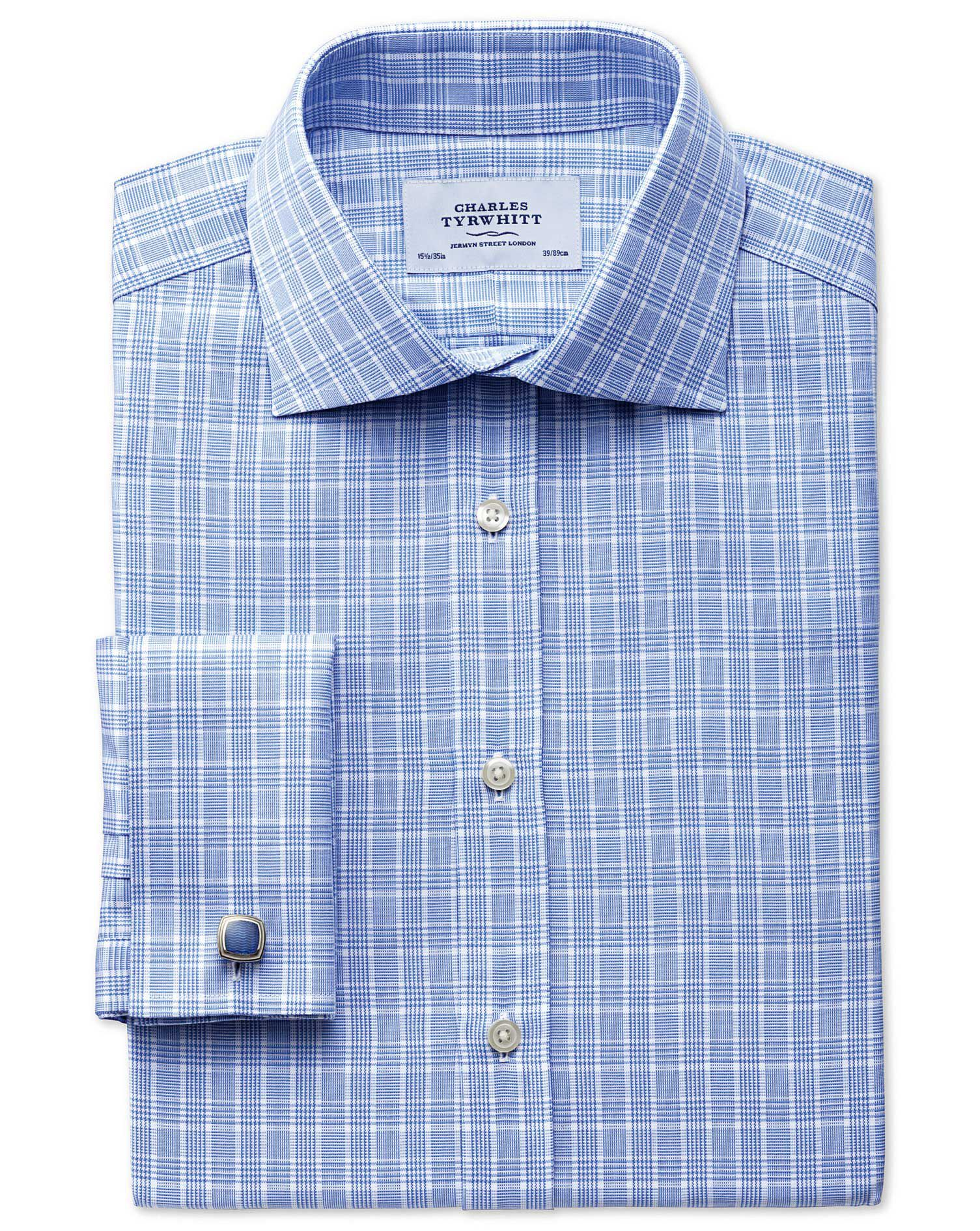 Classic Fit Prince Of Wales Basketweave Sky Blue Cotton Formal Shirt Double Cuff Size 15.5/37 by Cha