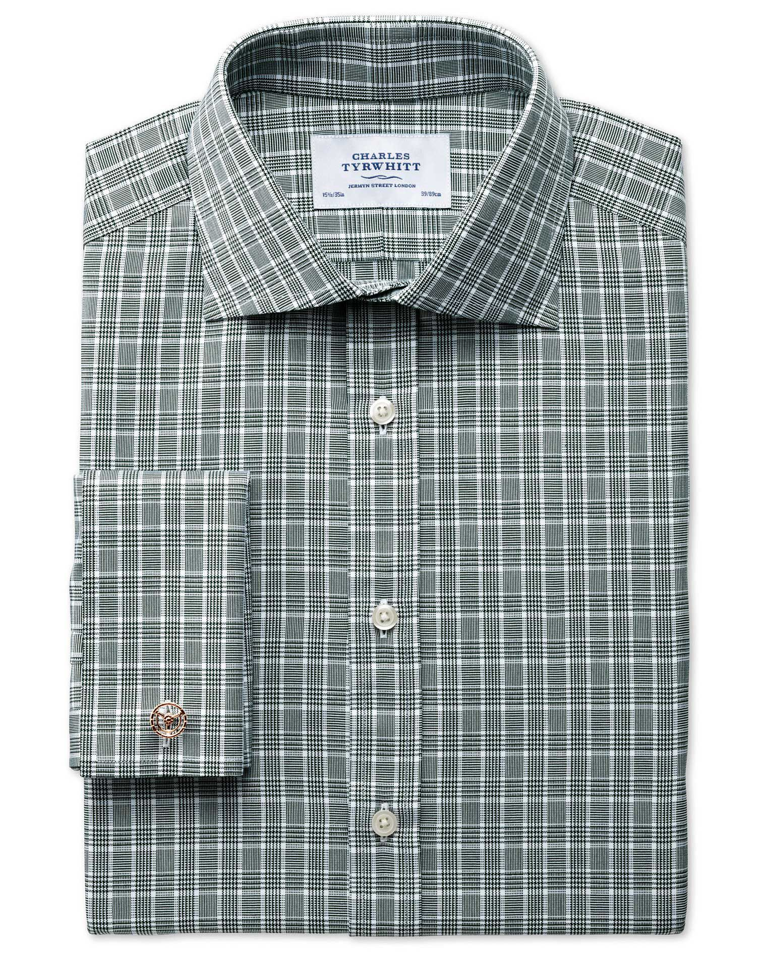 Extra Slim Fit Prince Of Wales Green Cotton Formal Shirt Double Cuff Size 16/34 by Charles Tyrwhitt