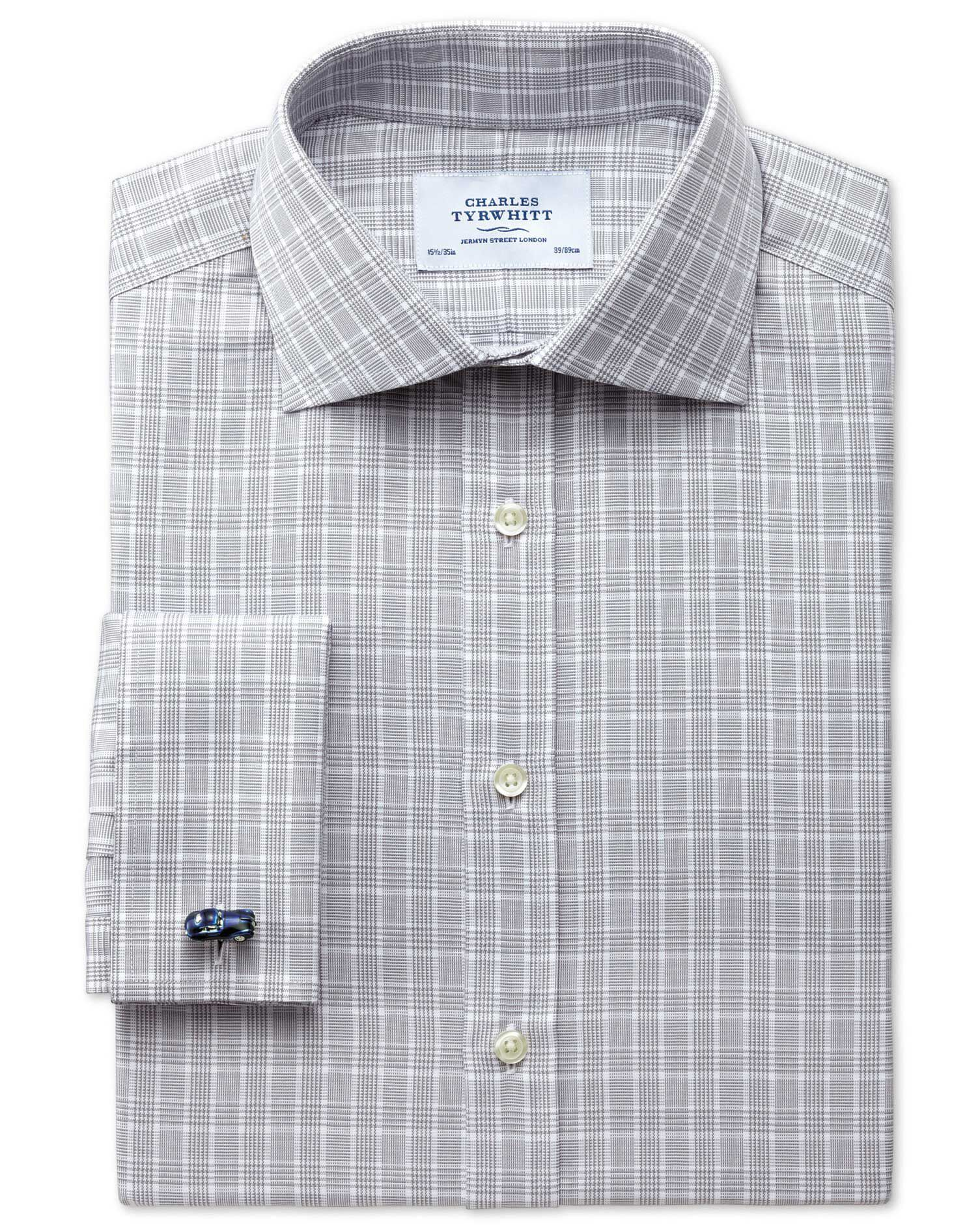 Extra Slim Fit Prince Of Wales Silver Cotton Formal Shirt Double Cuff Size 16/32 by Charles Tyrwhitt