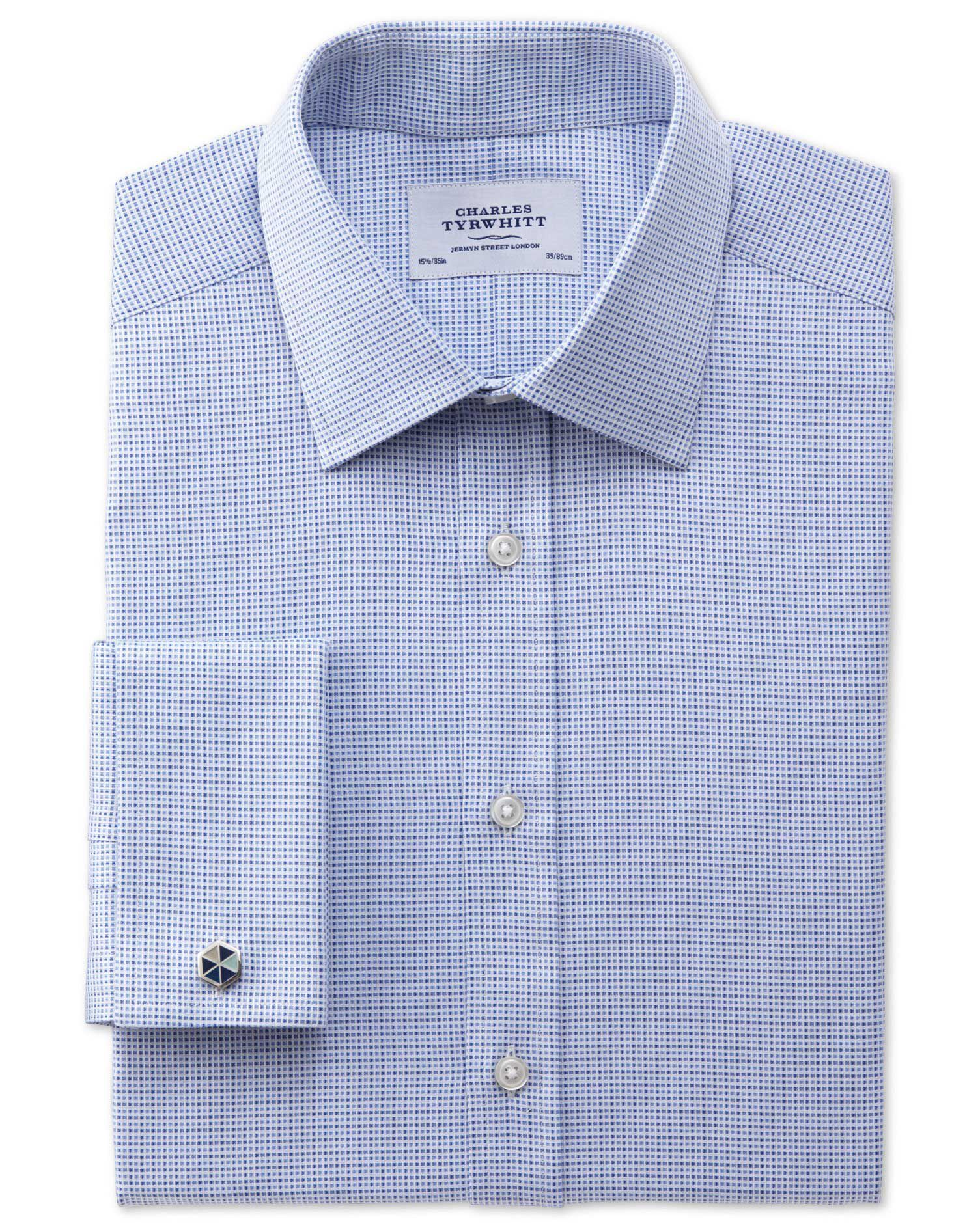 Classic Fit Egyptian Cotton Textured Blue Formal Shirt Double Cuff Size 16.5/38 by Charles Tyrwhitt