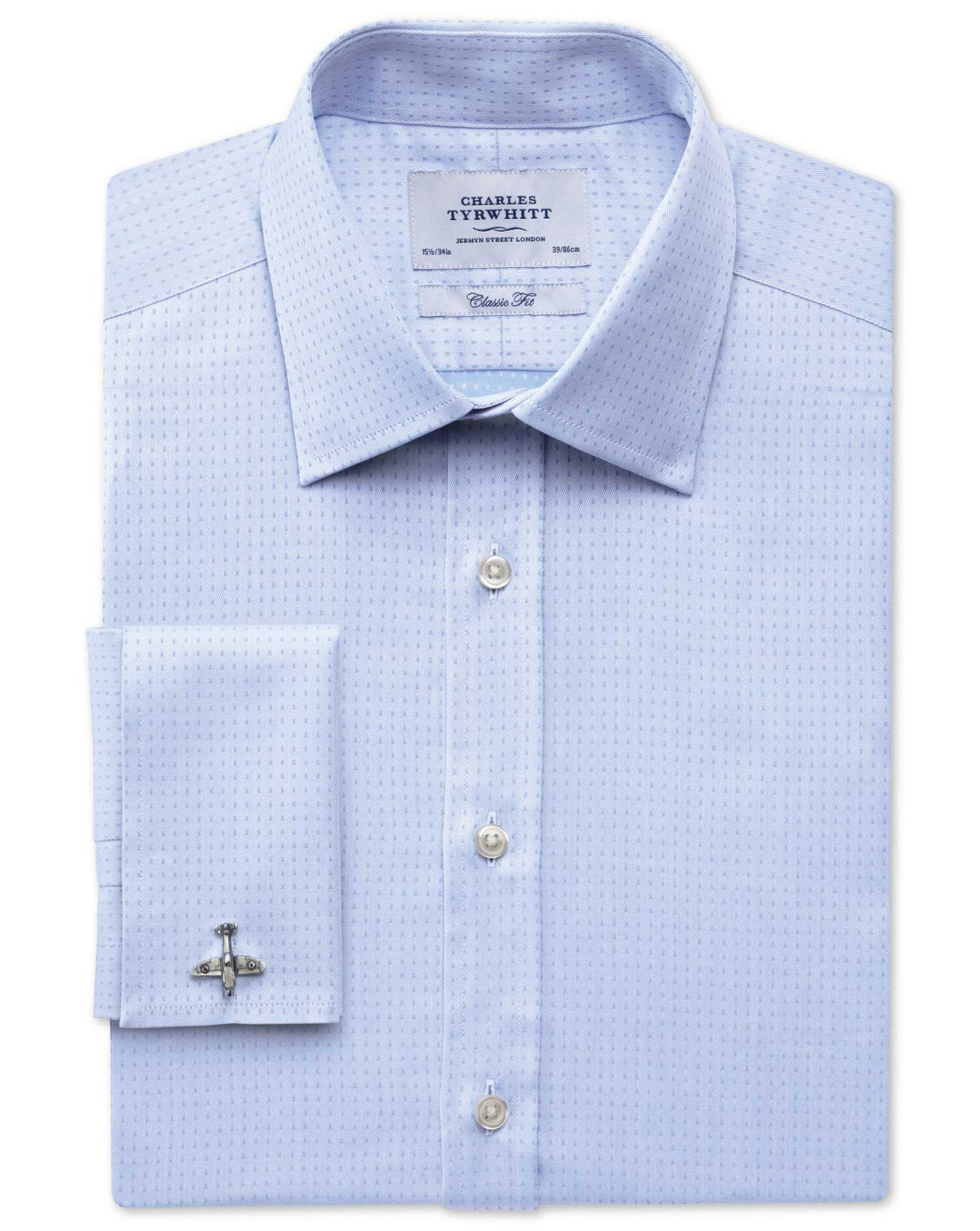 Classic Fit Egyptian Cotton Textured Dobby Sky Blue Formal Shirt Double Cuff Size 16/38 by Charles T