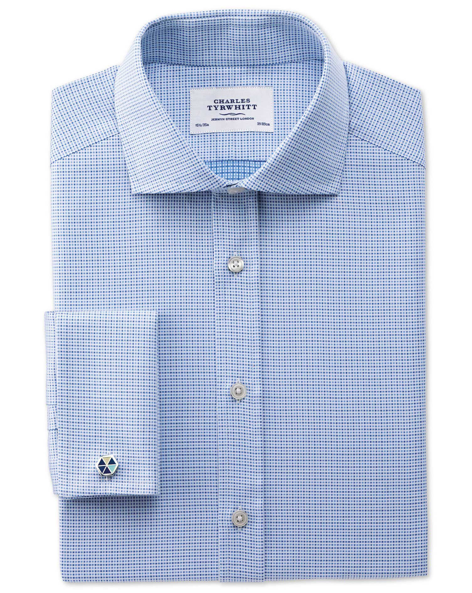 Slim Fit Cutaway Collar Egyptian Cotton Textured Blue Formal Shirt Double Cuff Size 17.5/34 by Charl