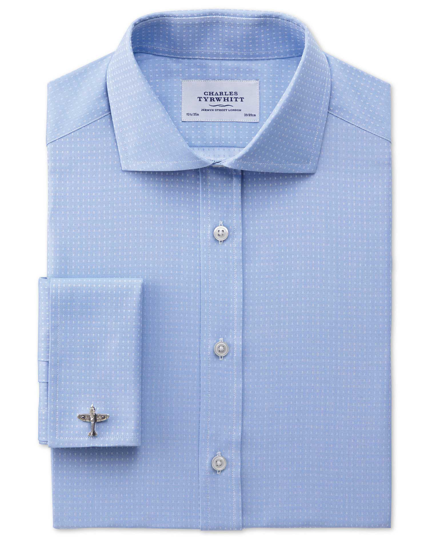 Extra Slim Fit Cutaway Collar Egyptian Cotton Textured Dobby Sky Blue Formal Shirt Double Cuff Size