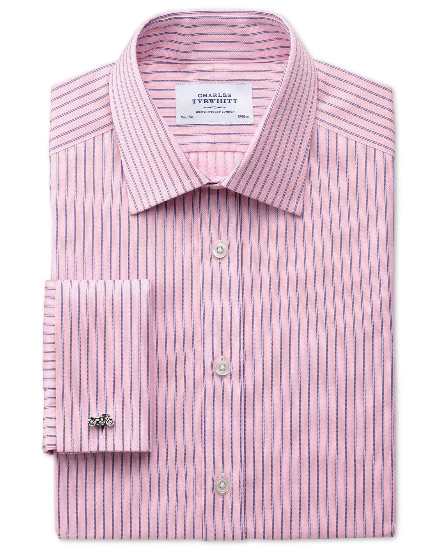 Classic Fit Egyptian Cotton Textured Stripe Pink Formal Shirt Single Cuff Size 16/38 by Charles Tyrw