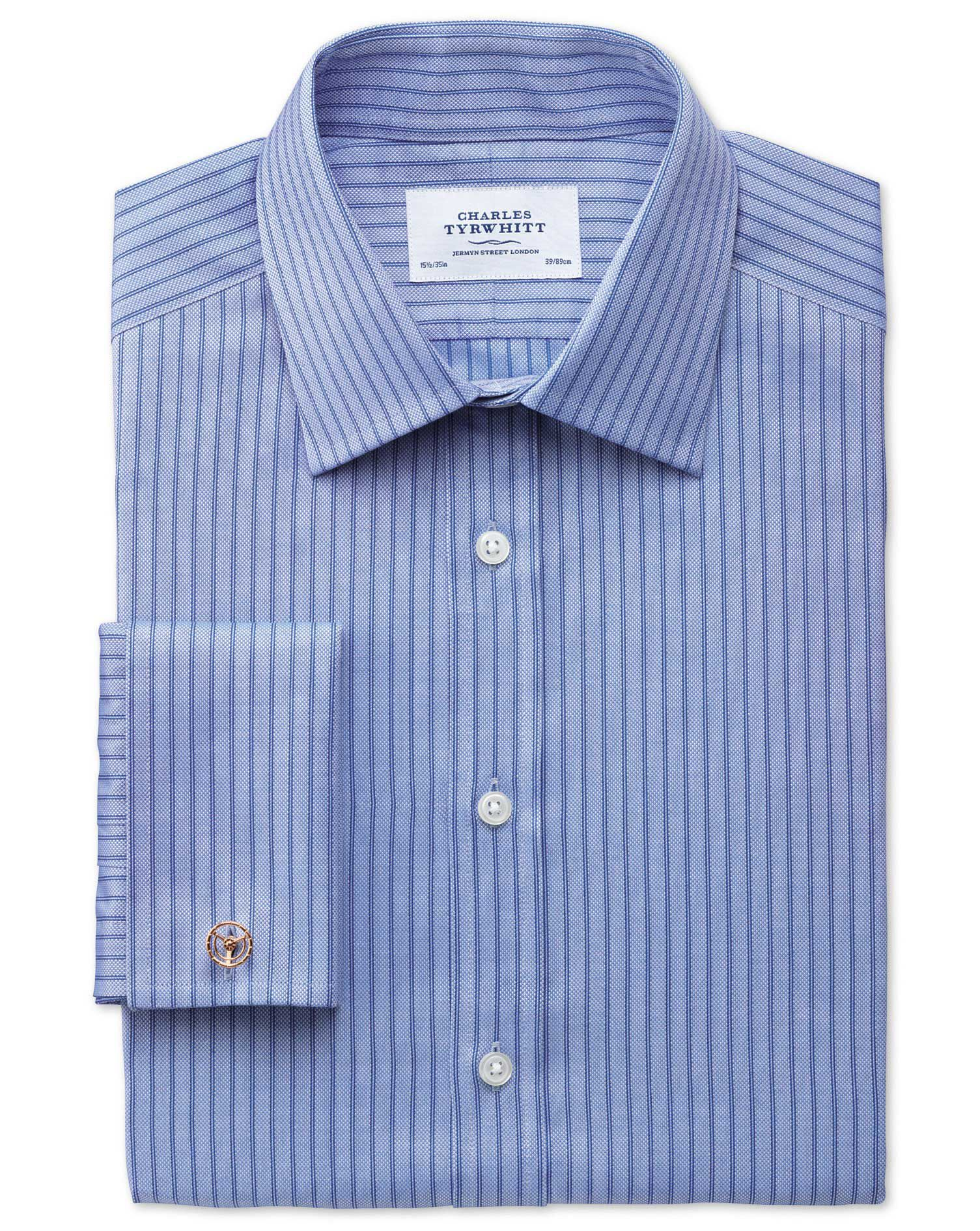 Classic Fit Egyptian Cotton Textured Stripe Sky Blue Formal Shirt Double Cuff Size 15.5/36 by Charle