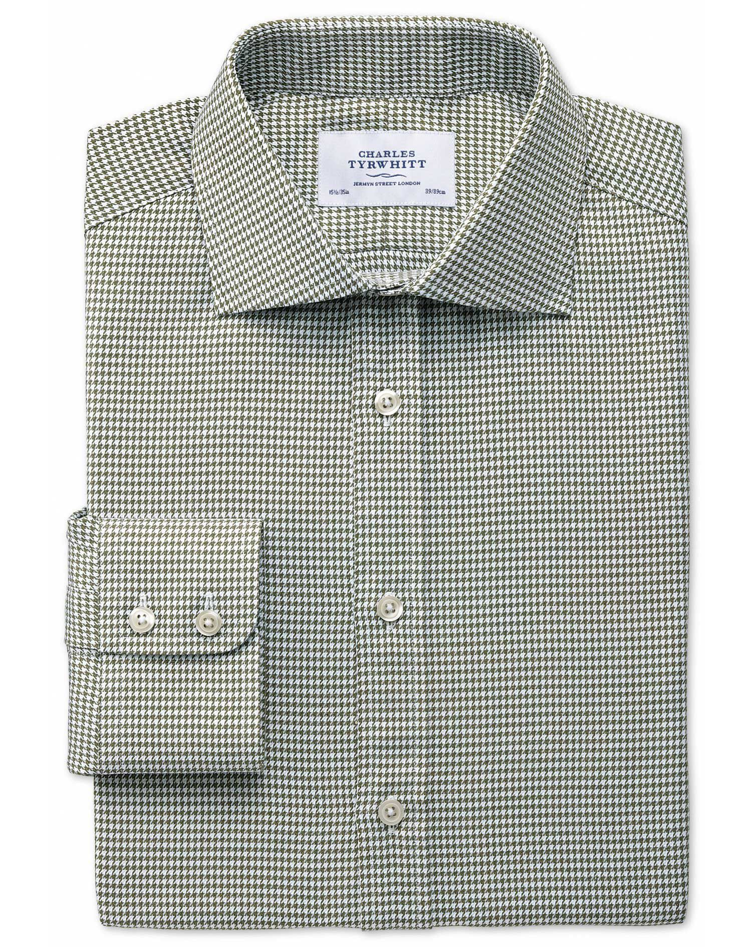 Slim Fit Semi-Cutaway Collar Melange Puppytooth Khaki Cotton Formal Shirt Single Cuff Size 15/35 by