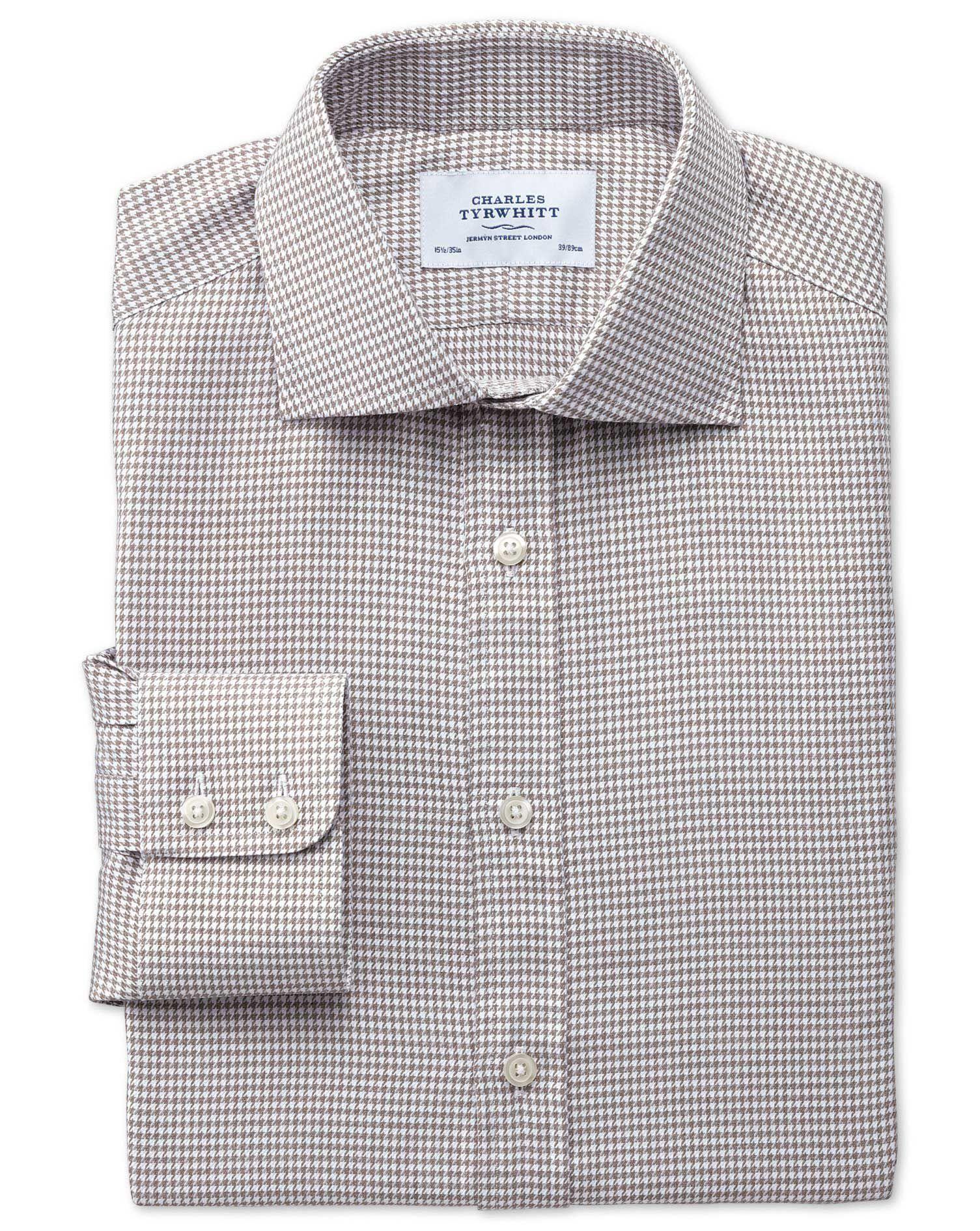 Extra Slim Fit Semi-Cutaway Collar Melange Puppytooth Stone Cotton Formal Shirt Single Cuff Size 16.