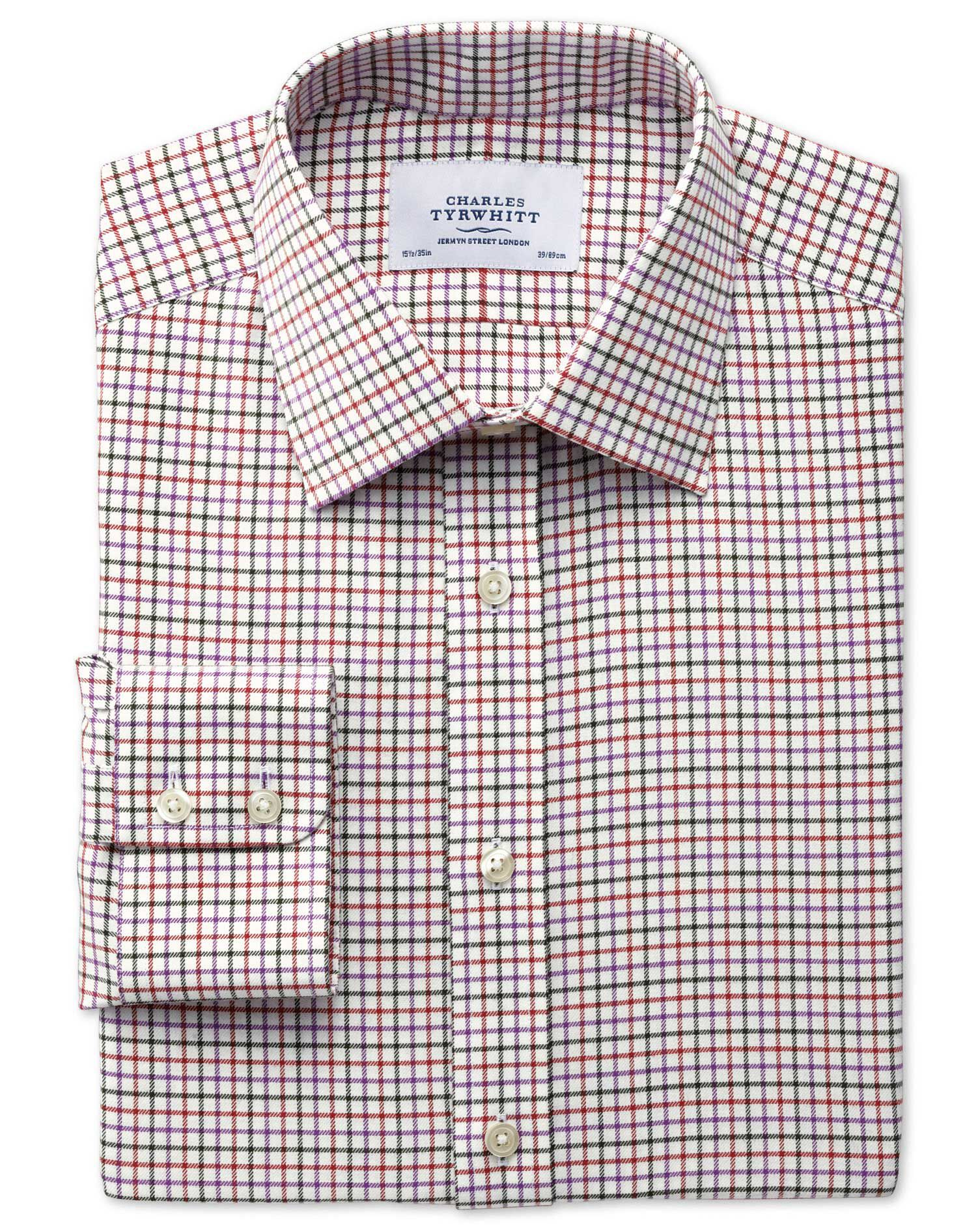 Charles Tyrwhitt Classic Fit Country Check Purple and Orange Cotton Formal Shirt Size 19/37
