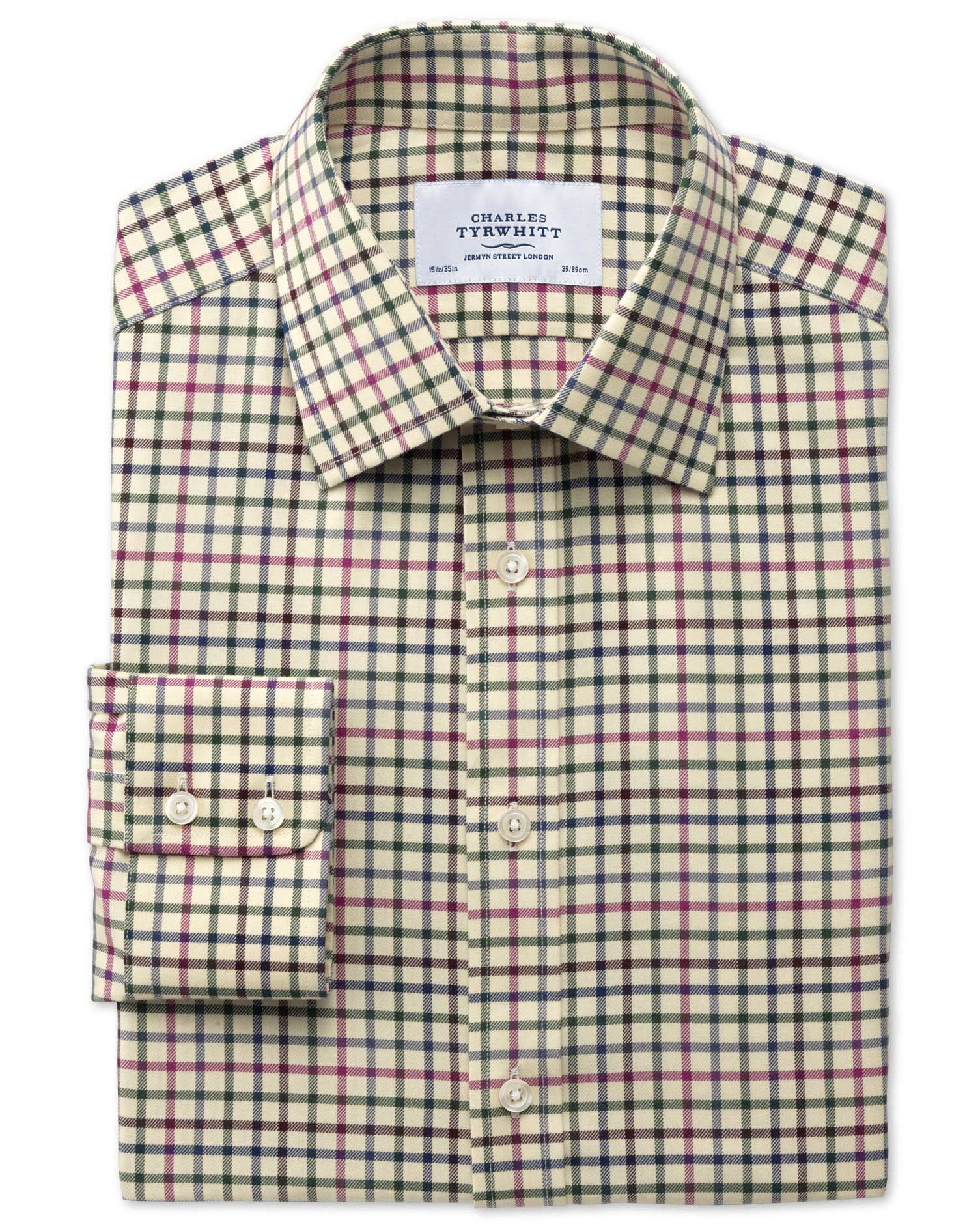 Slim Fit Country Check Pink and Green Cotton Formal Shirt Single Cuff Size 18/35 by Charles Tyrwhitt