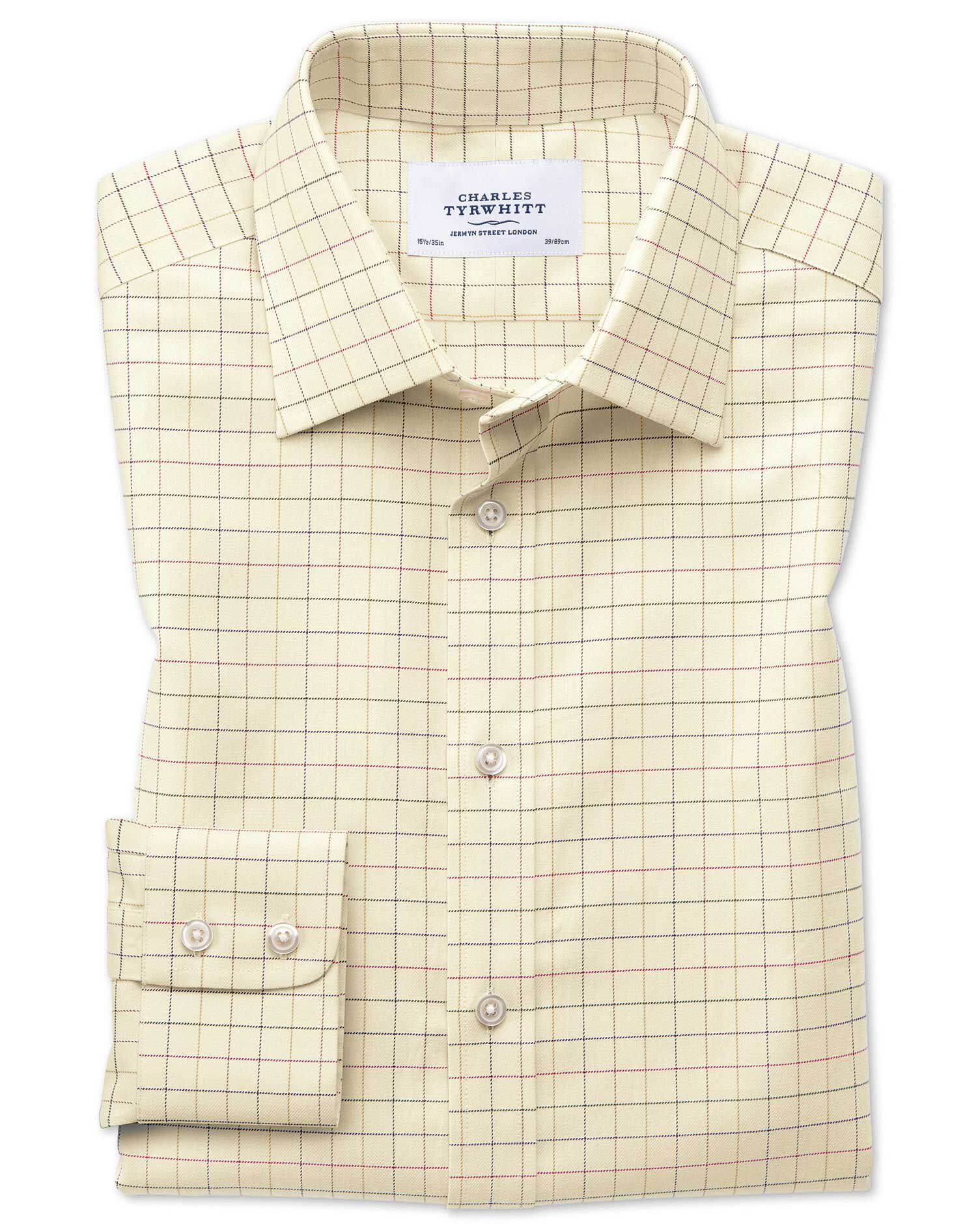 Extra Slim Fit Country Check Multi Cotton Formal Shirt Single Cuff Size 16/33 by Charles Tyrwhitt