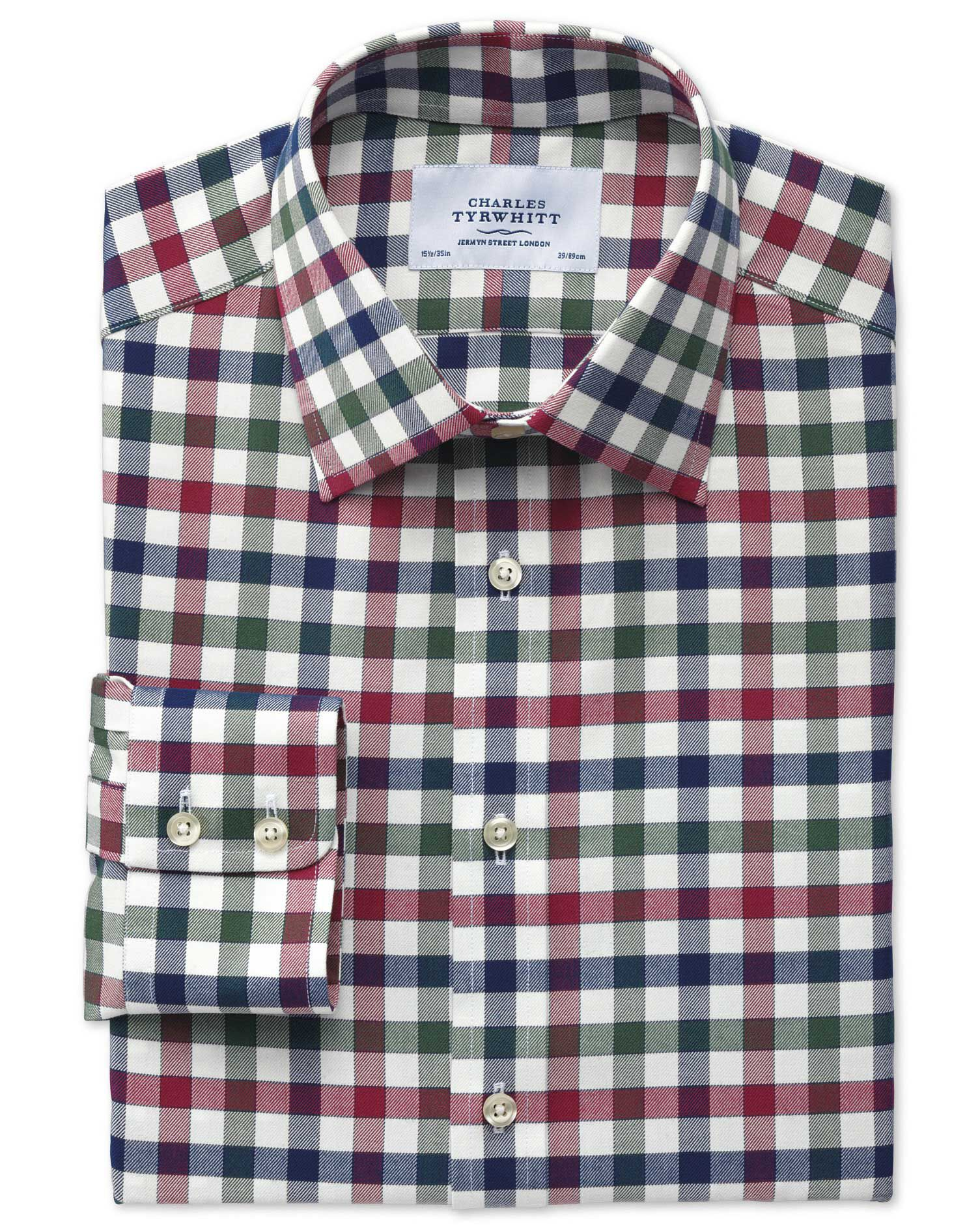 Extra Slim Fit Country Check Navy and Berry Cotton Formal Shirt Single Cuff Size 17/37 by Charles Ty