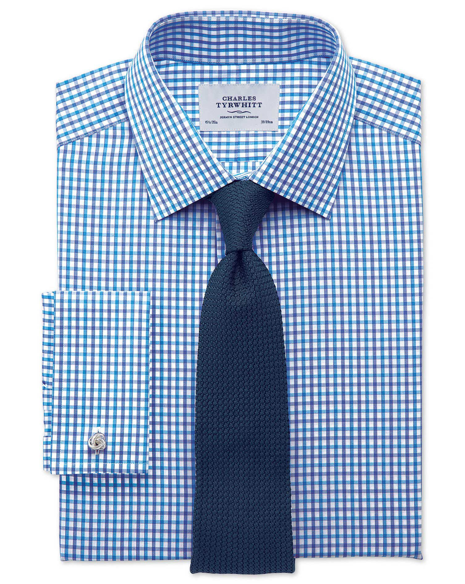 Extra Slim Fit Two Colour Check Blue Cotton Formal Shirt Single Cuff Size 17/37 by Charles Tyrwhitt
