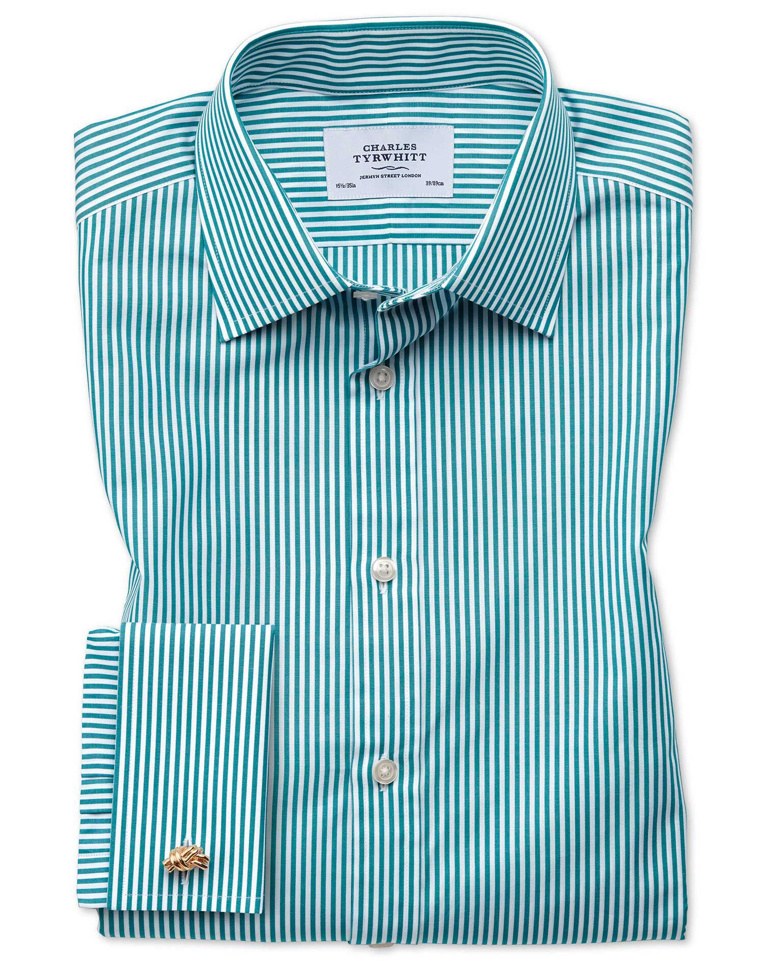 Classic Fit Bengal Stripe Green Cotton Formal Shirt Double Cuff Size 16.5/35 by Charles Tyrwhitt