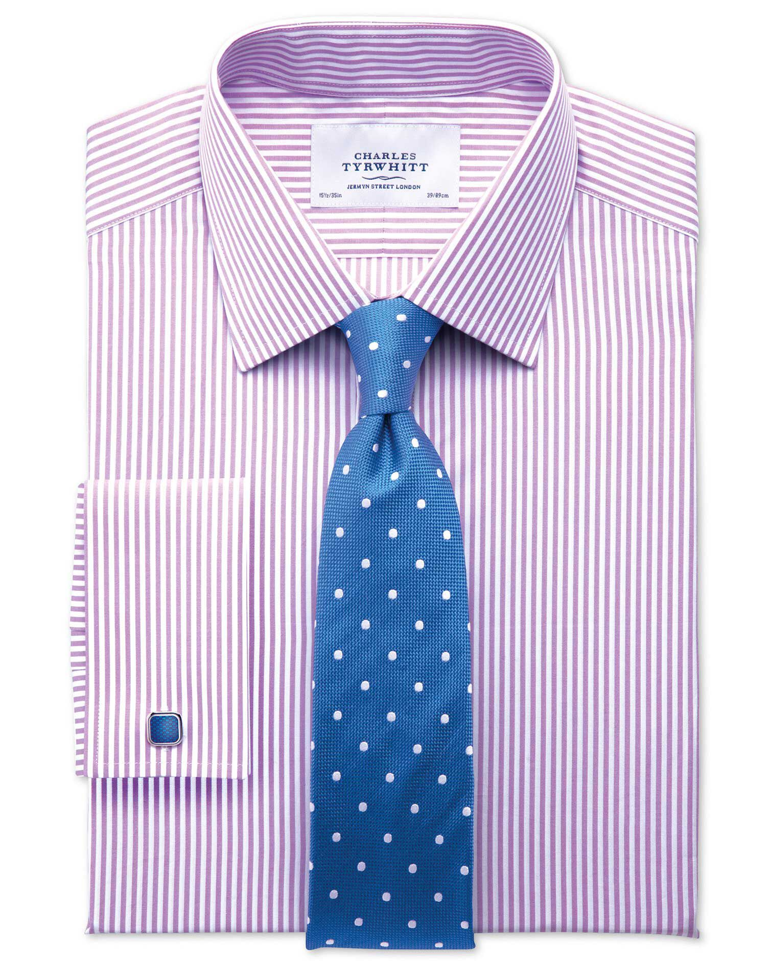 Classic Fit Bengal Stripe Lilac Cotton Formal Shirt Single Cuff Size 16/34 by Charles Tyrwhitt