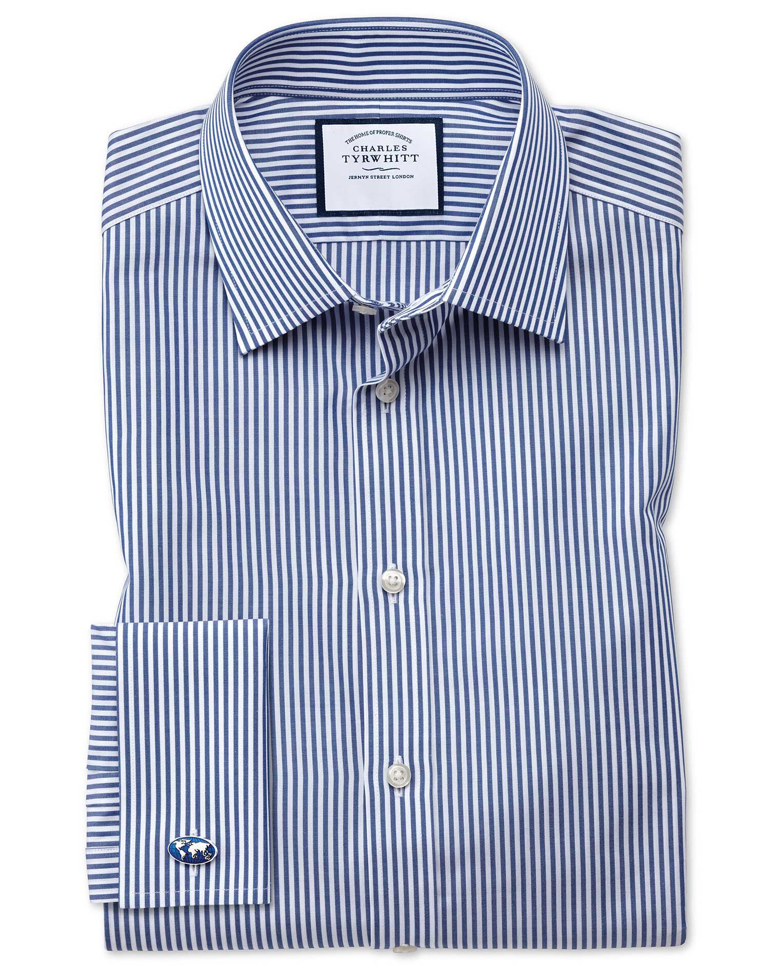Classic Fit Bengal Stripe Navy Blue Cotton Formal Shirt Double Cuff Size 16.5/36 by Charles Tyrwhitt