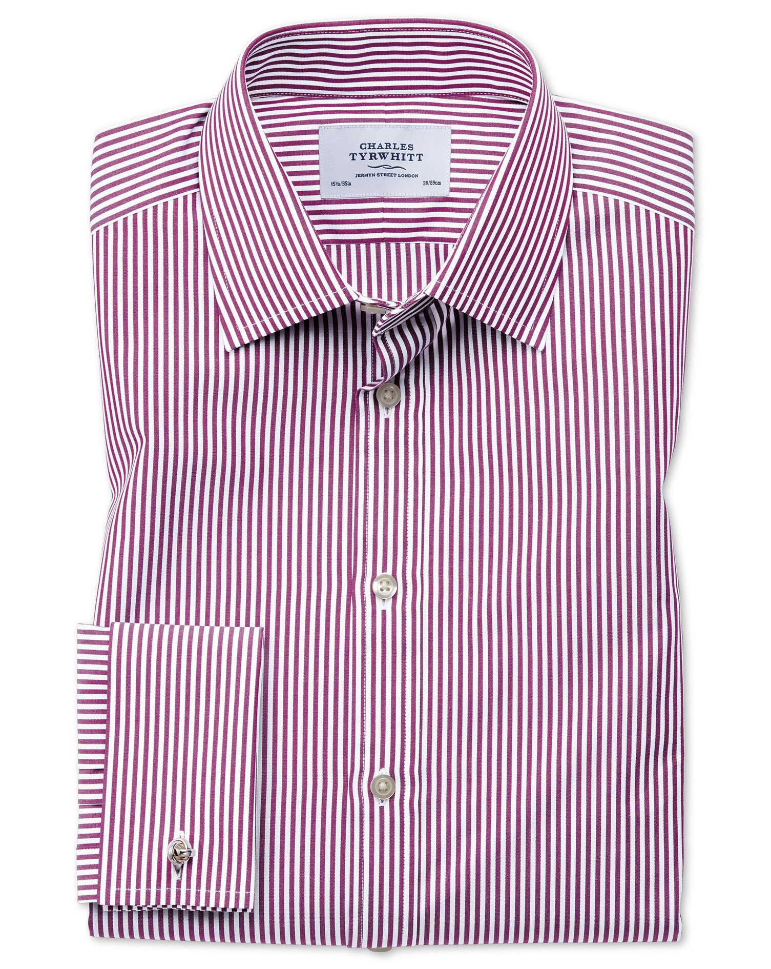 Classic Fit Bengal Stripe Purple Cotton Formal Shirt Single Cuff Size 17.5/36 by Charles Tyrwhitt